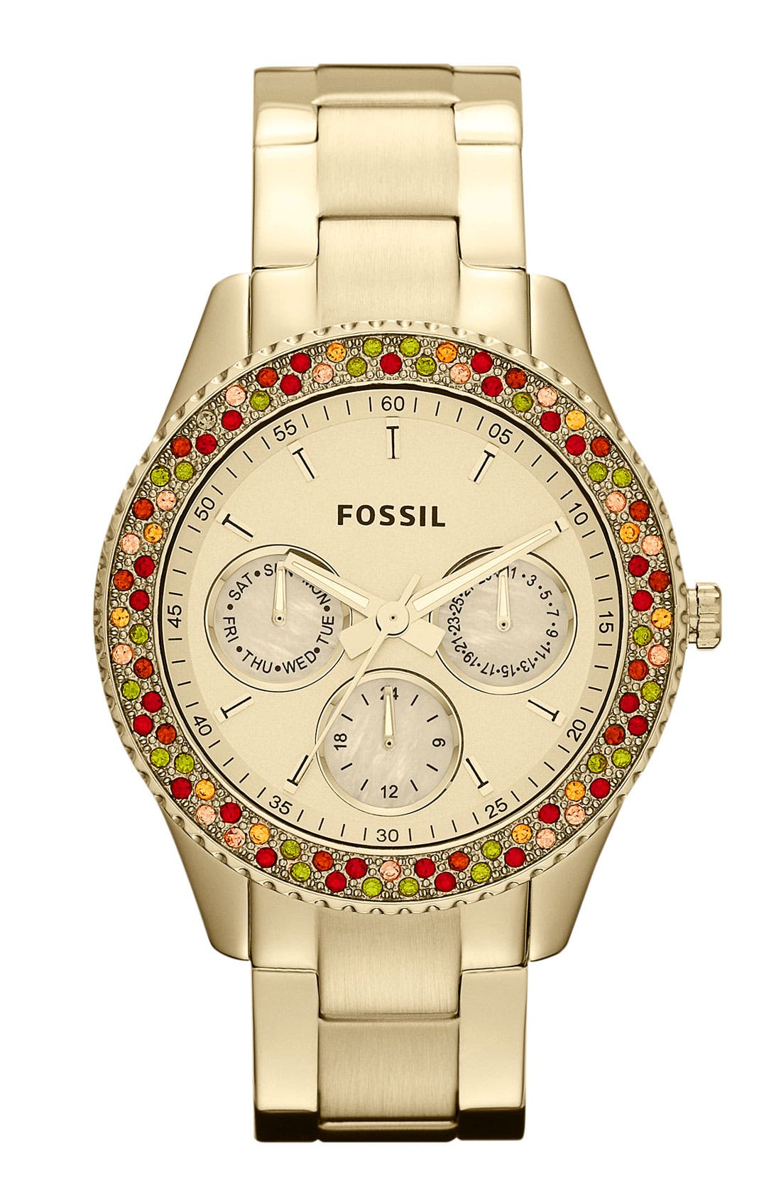 Main Image - Fossil 'Stella' Crystal Bezel Multifunction Watch, 37mm