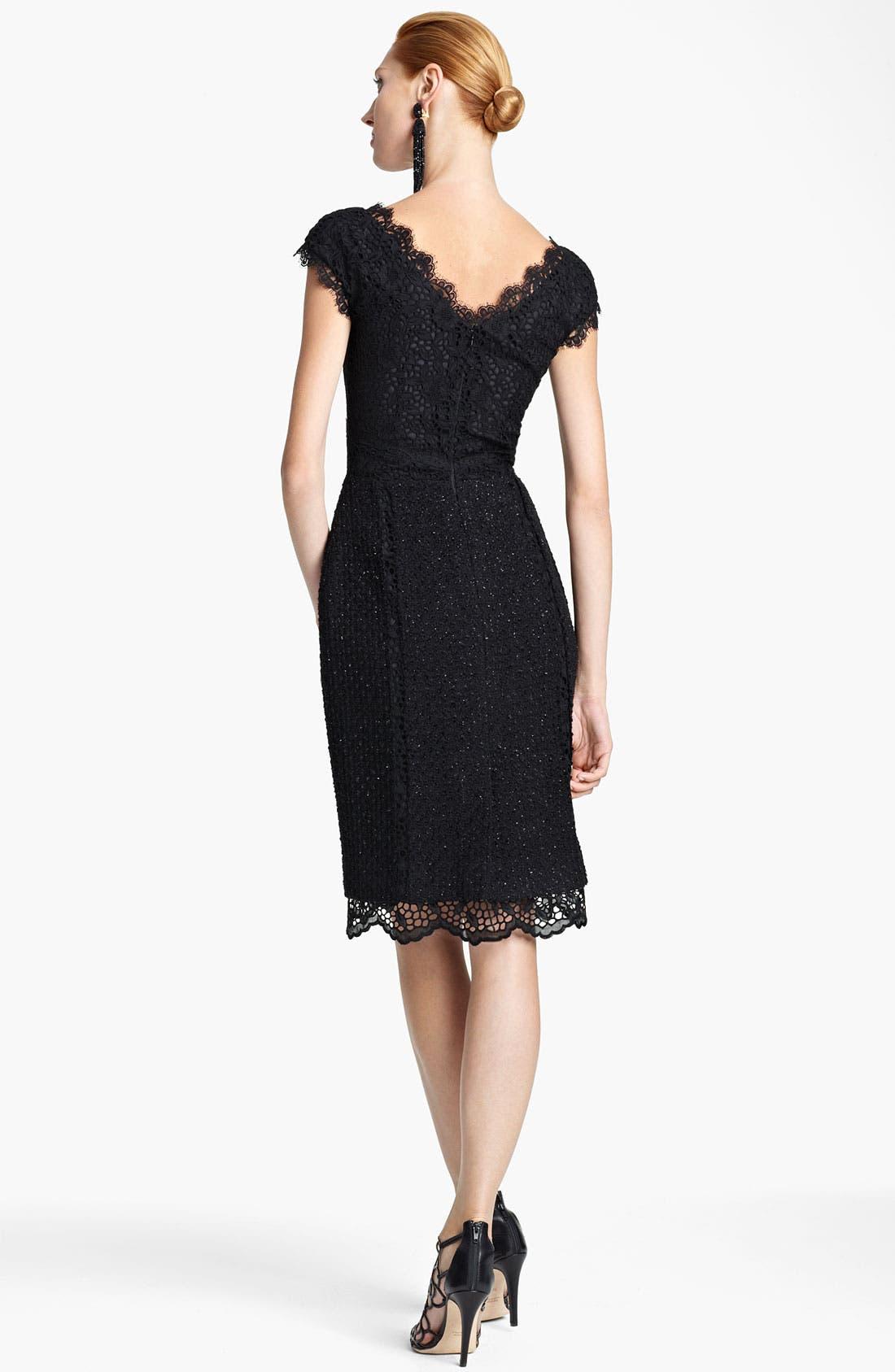 Alternate Image 2  - Oscar de la Renta Off Shoulder Lace & Tweed Dress