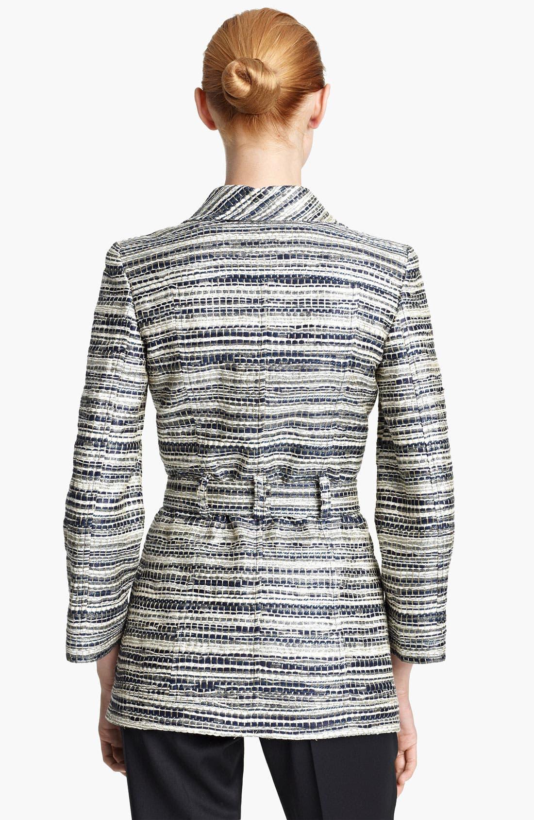 Alternate Image 2  - Oscar de la Renta Belted Metallic Tweed Jacket