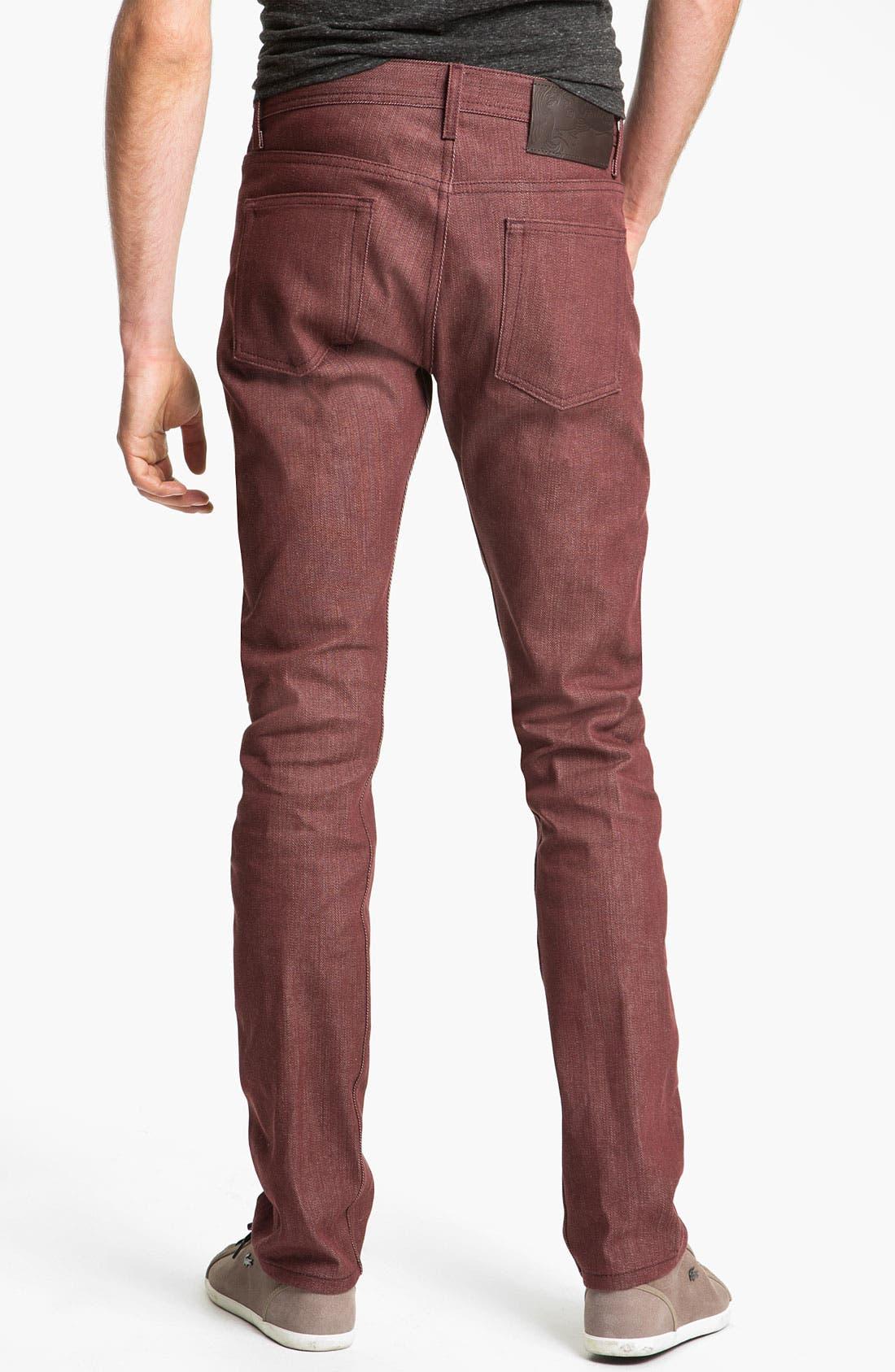Alternate Image 1 Selected - Naked & Famous Denim 'Weird Guy' Slim Tapered Leg Selvedge Jeans (Pomegranate Red)