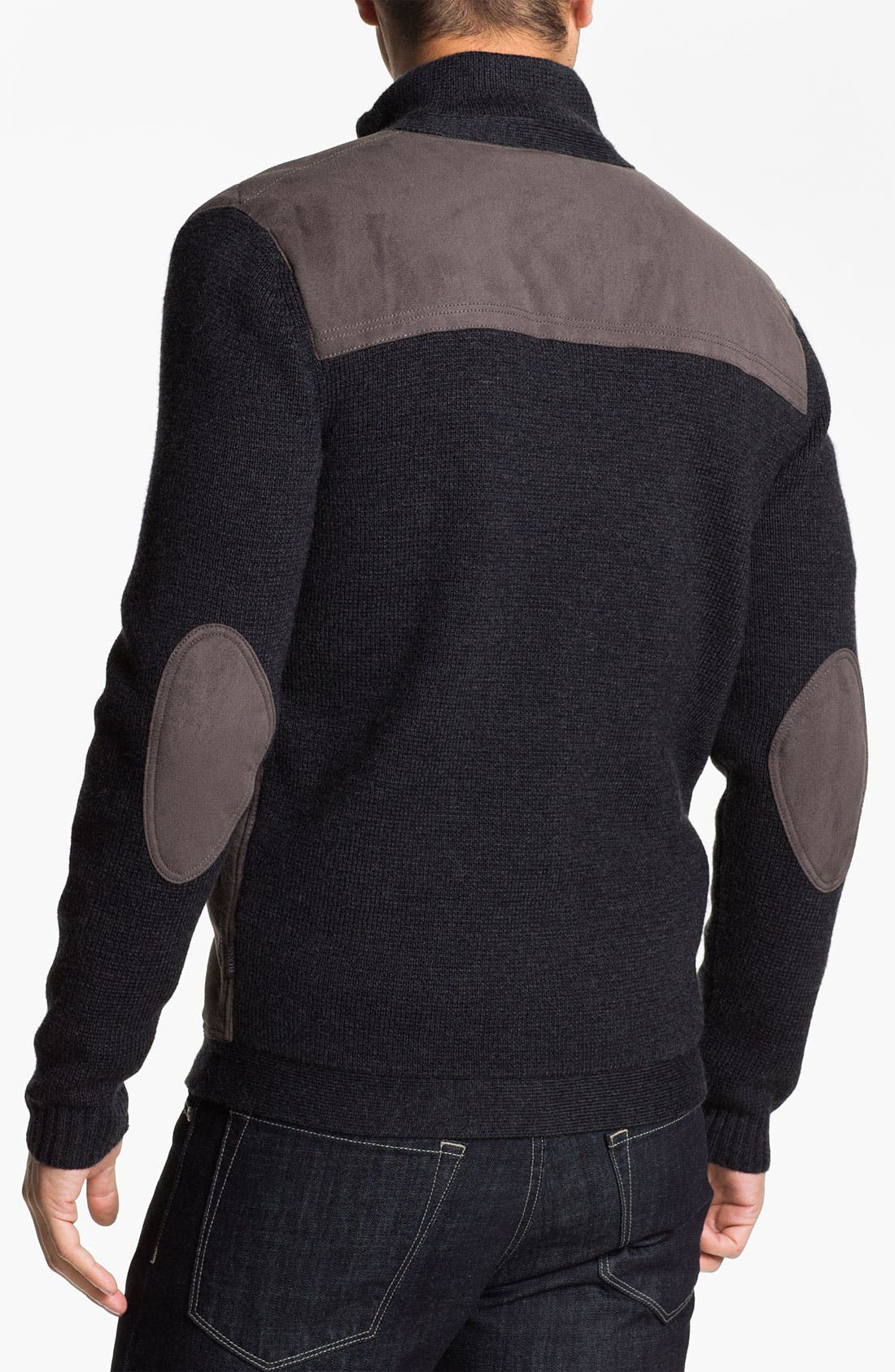 Alternate Image 2  - BOSS Black 'Laurin' Wool Blend Zip Cardigan with Suede Trim