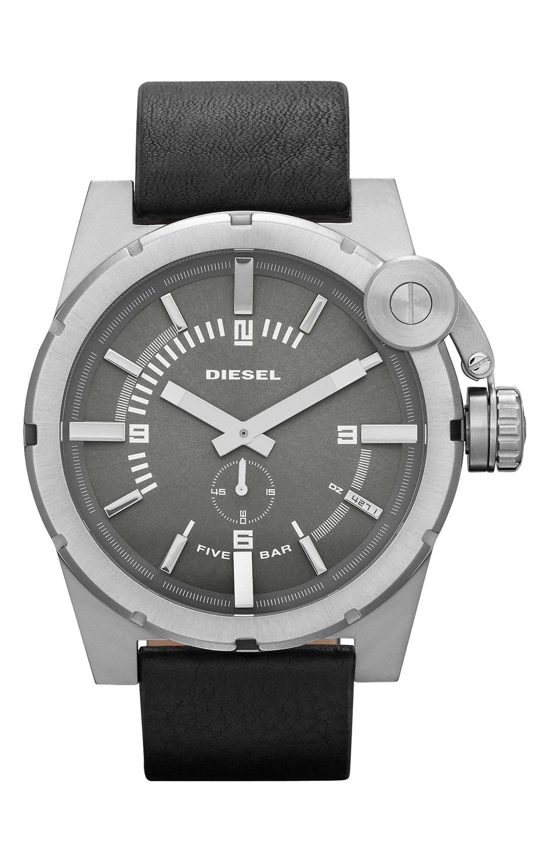 Alternate Image 1 Selected - DIESEL® 'Bad Company' Round Leather Strap Watch