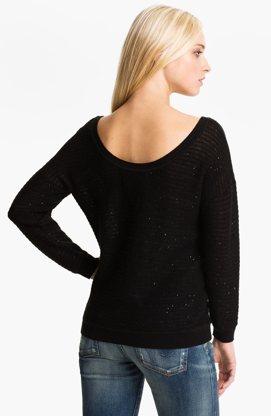 Sequin Stripe Sweater,                             Alternate thumbnail 2, color,                             Black