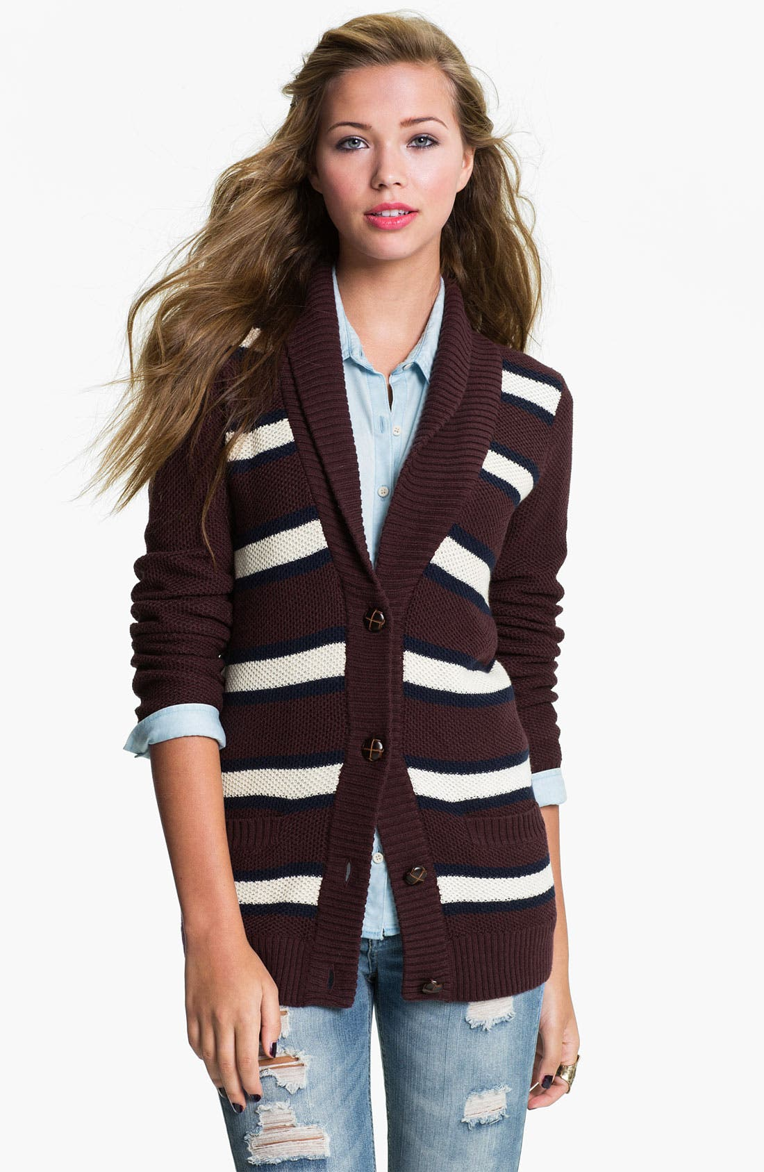 Main Image - BP. Shawl Collar Cardigan (Juniors)
