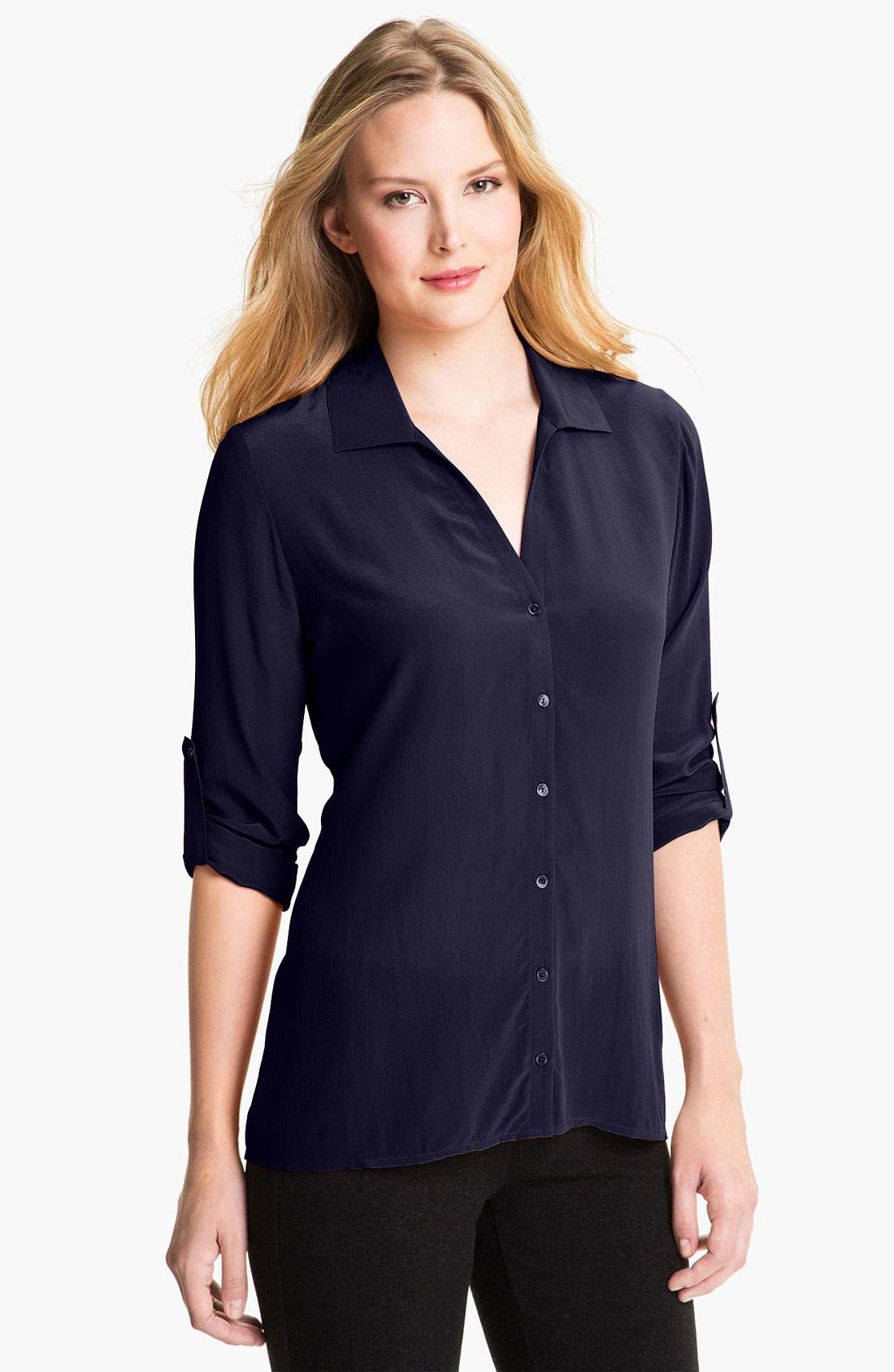 Alternate Image 1 Selected - Eileen Fisher Crêpe de Chine Silk Shirt (Online Exclusive)