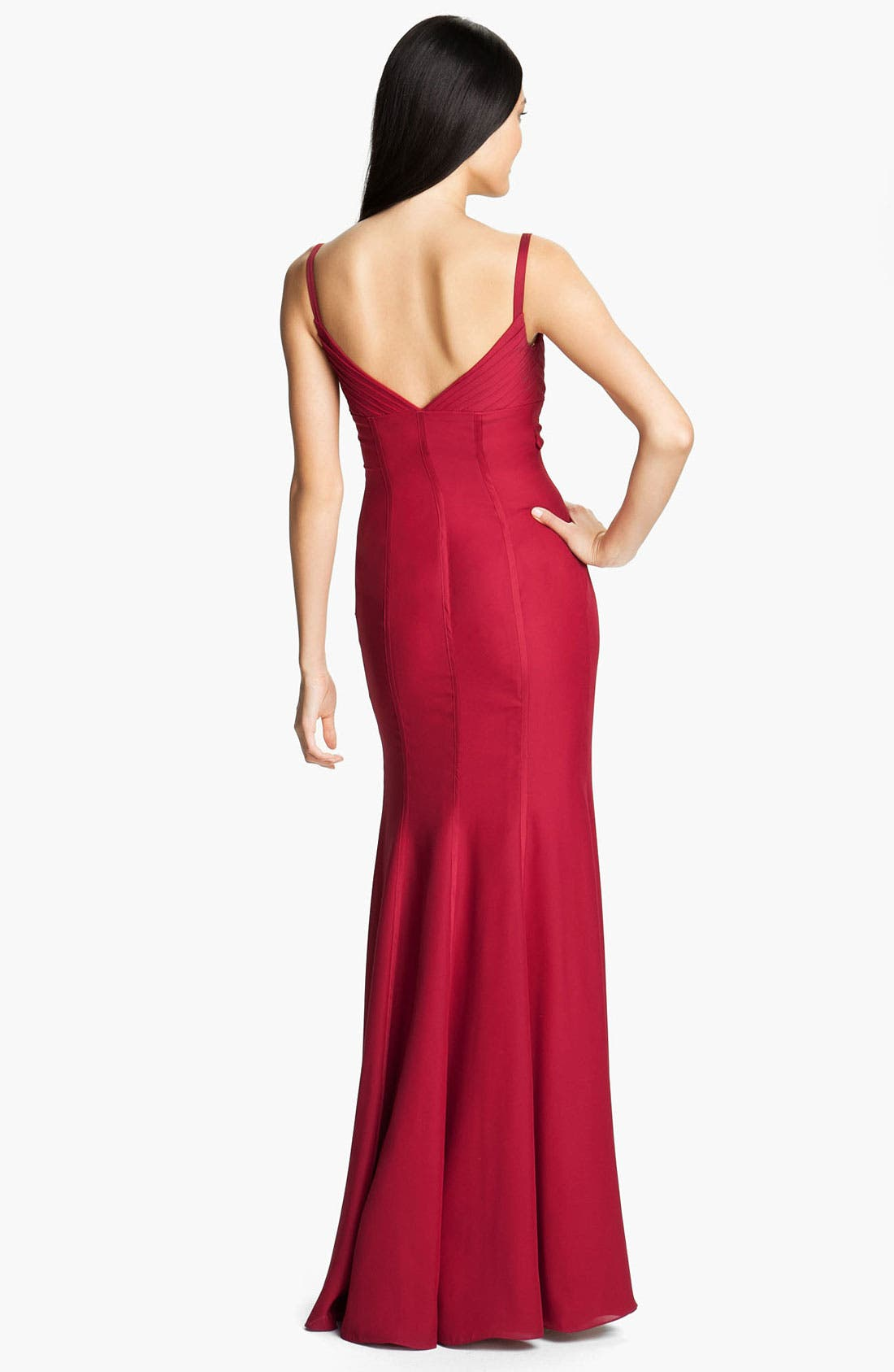 Alternate Image 2  - ML Monique Lhuillier Bridesmaids Satin Trim Surplice Gown (Nordstrom Exclusive)