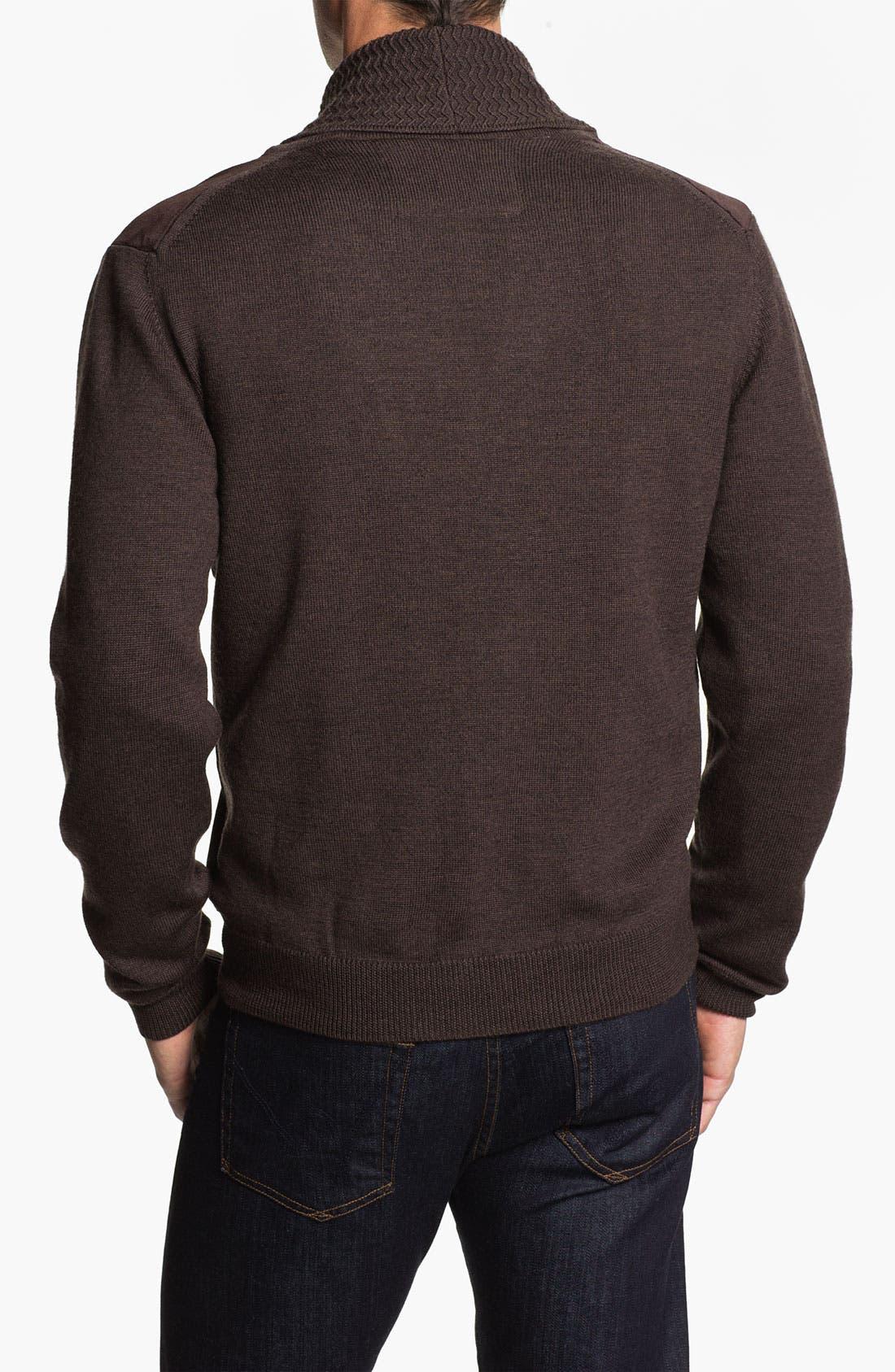 Alternate Image 2  - Hickey Freeman Shawl Collar Suede & Wool Cardigan