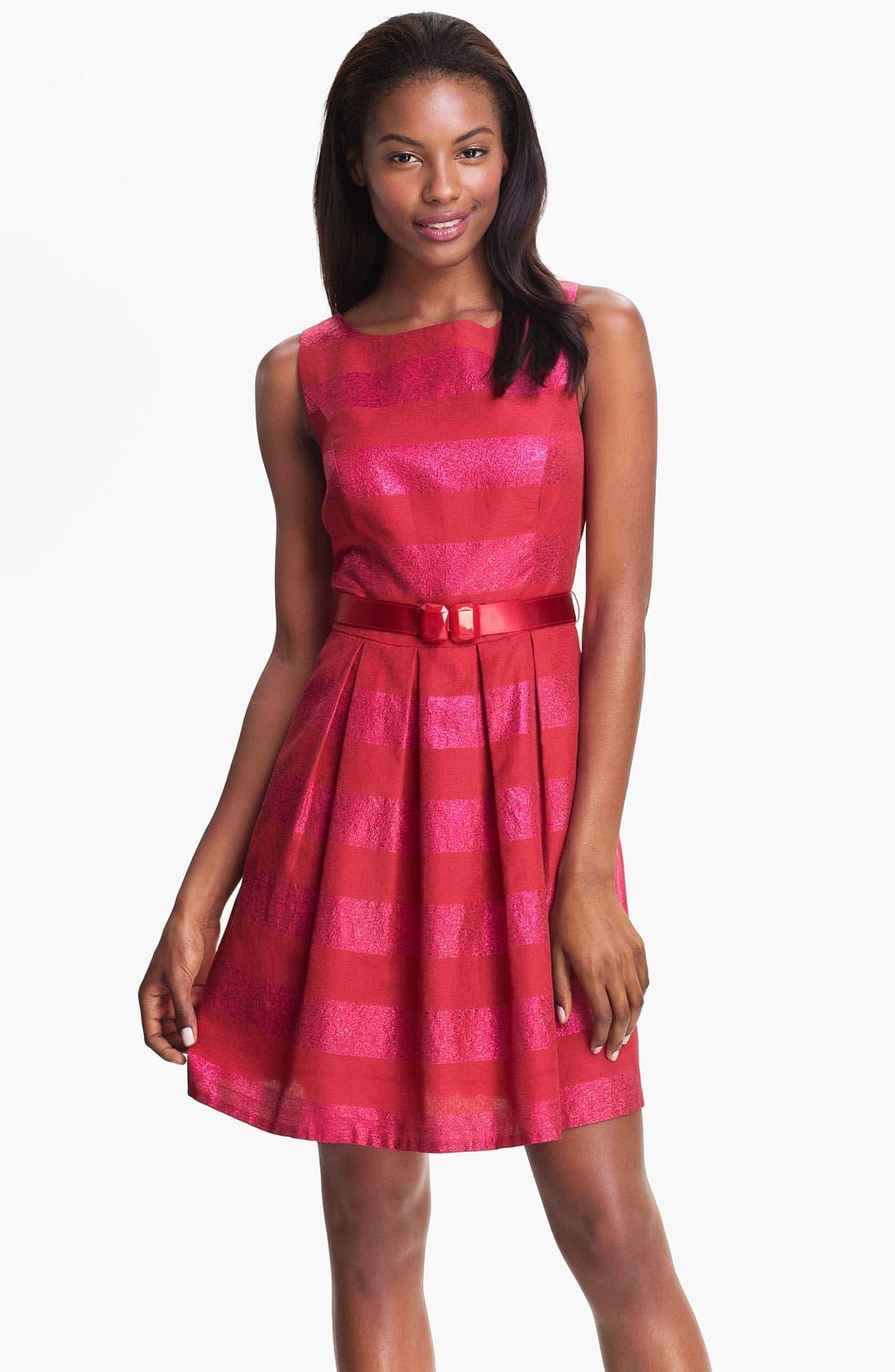 Alternate Image 1 Selected - Trina Turk 'Domino' Metallic Stripe Jacquard Fit & Flare Dress