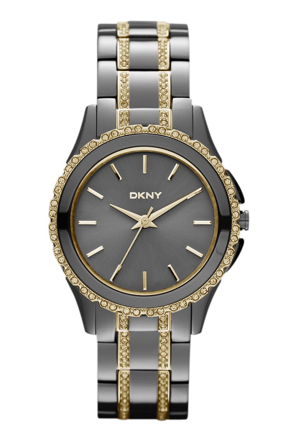 Main Image - DKNY Crystal Detail Bracelet Watch, 33mm