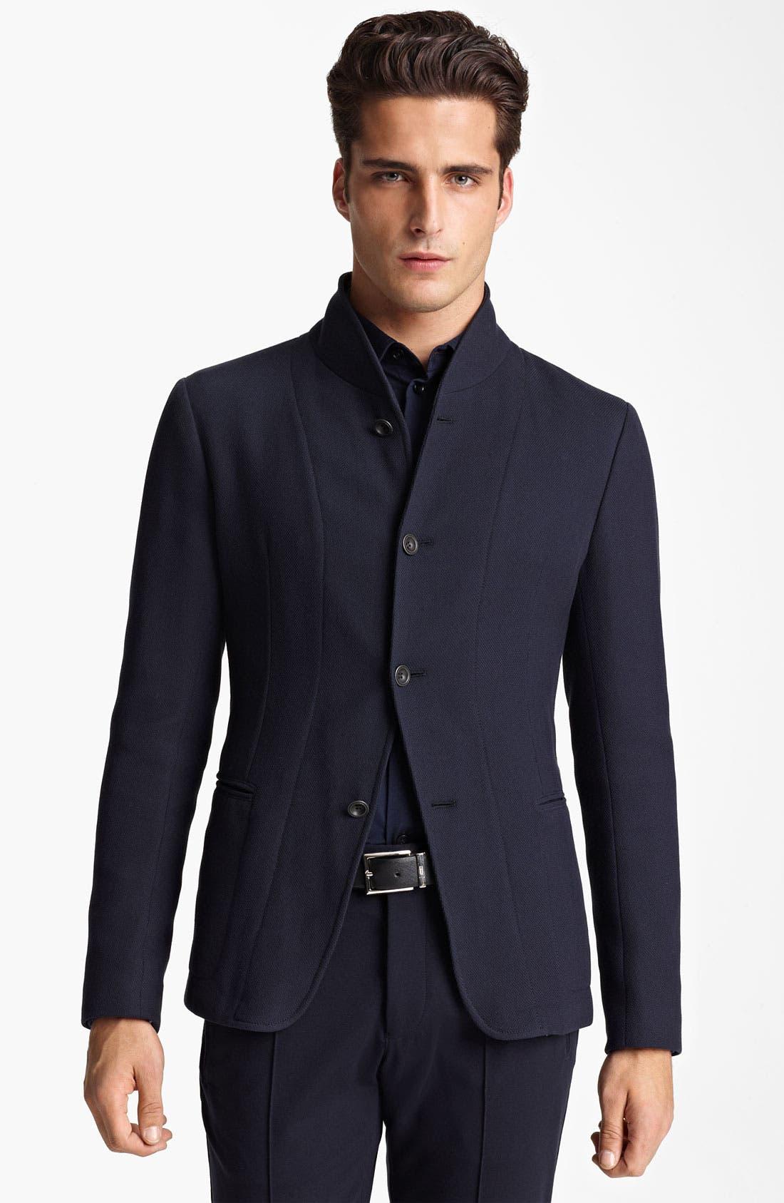 Alternate Image 1 Selected - Armani Collezioni Piqué Jersey Jacket