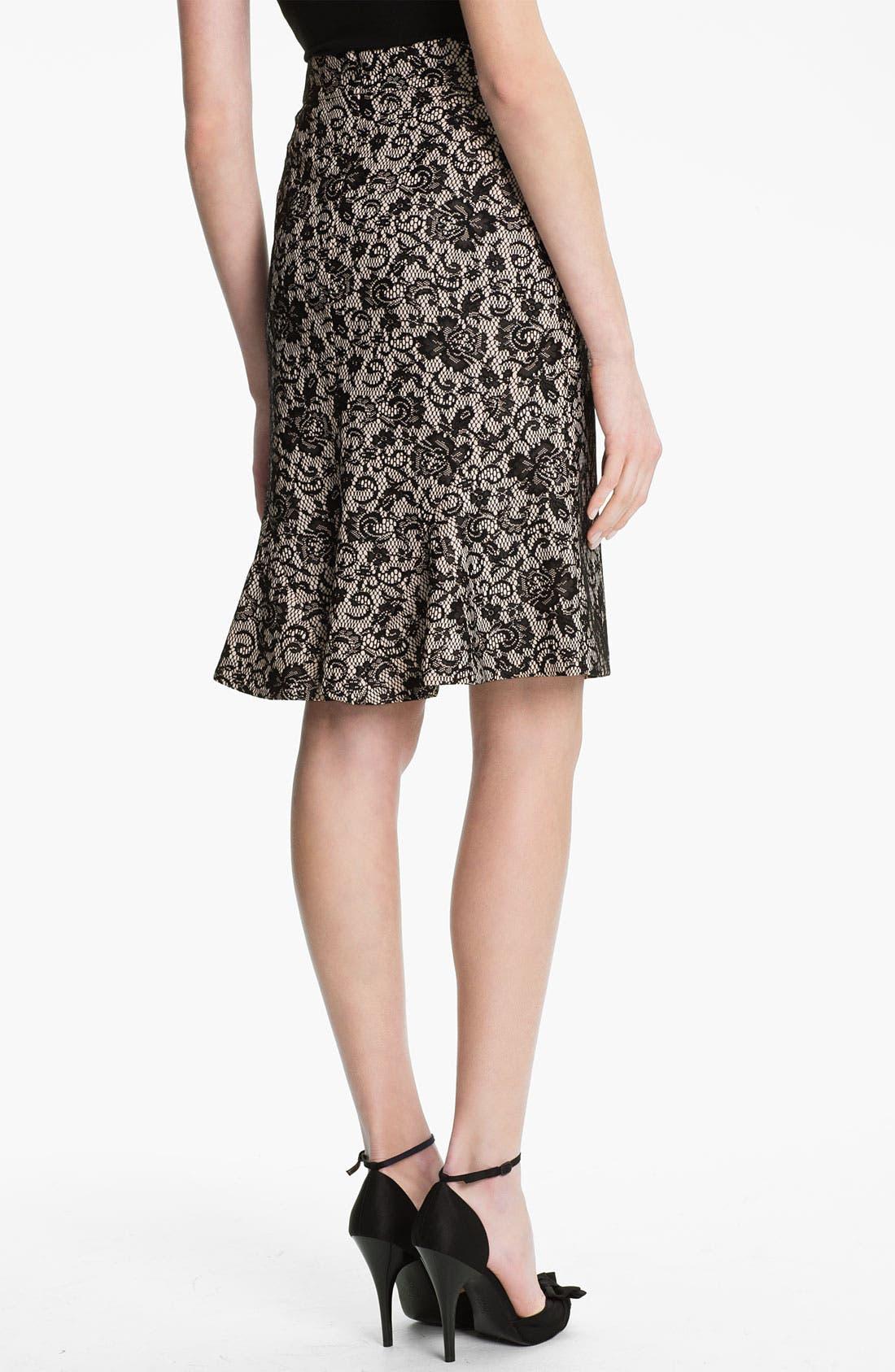 Alternate Image 2  - Kay Unger Back Godet Lace Jacquard Pencil Skirt
