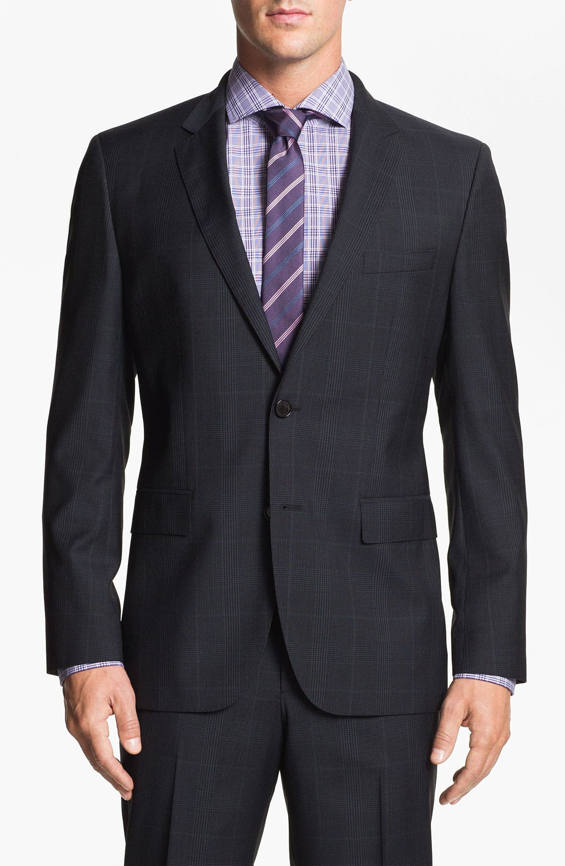Main Image - BOSS Black 'Jam/Sharp' Trim Fit Plaid Suit