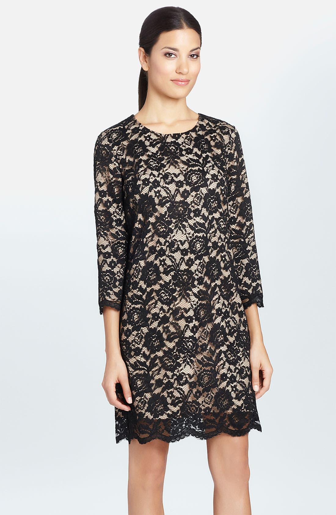 Alternate Image 1 Selected - Cynthia Steffe 'Vida' Scalloped Hem Lace Shift Dress