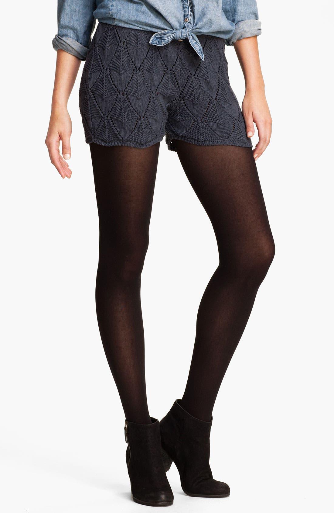 Main Image - Cotton Emporium Pointelle Sweater Shorts (Juniors)