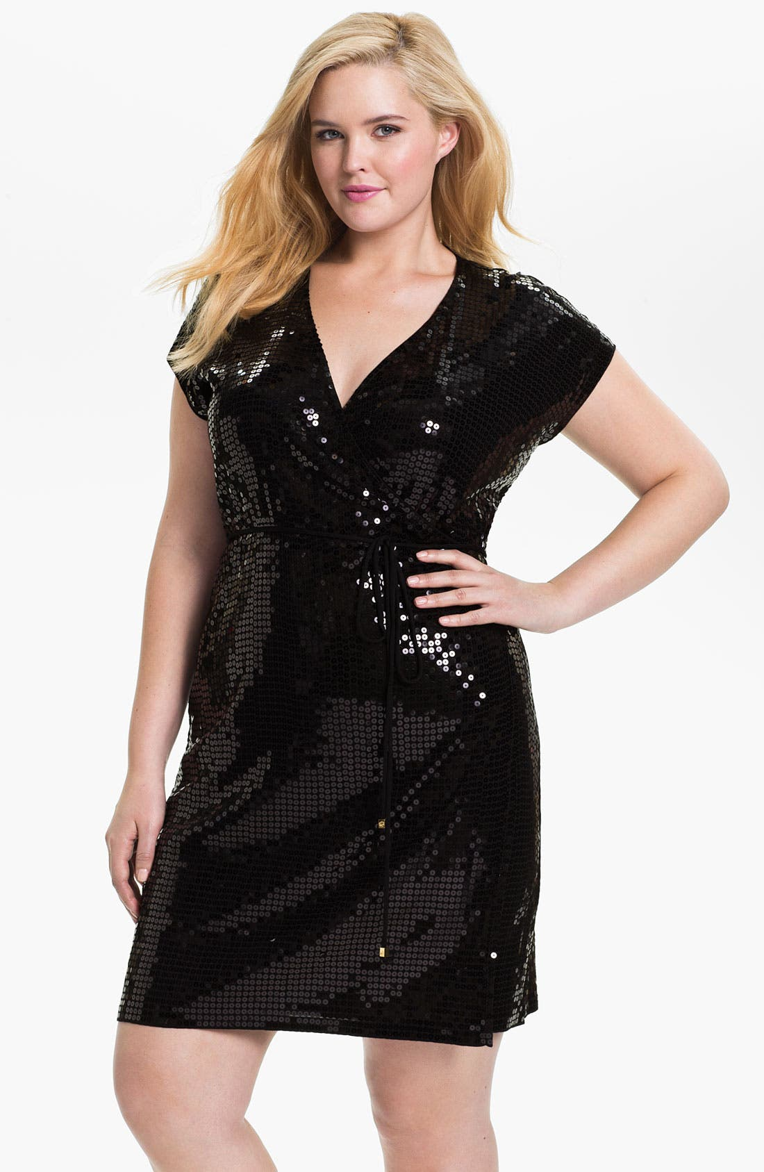 Main Image - MICHAEL Michael Kors Sequin Wrap Dress (Plus)