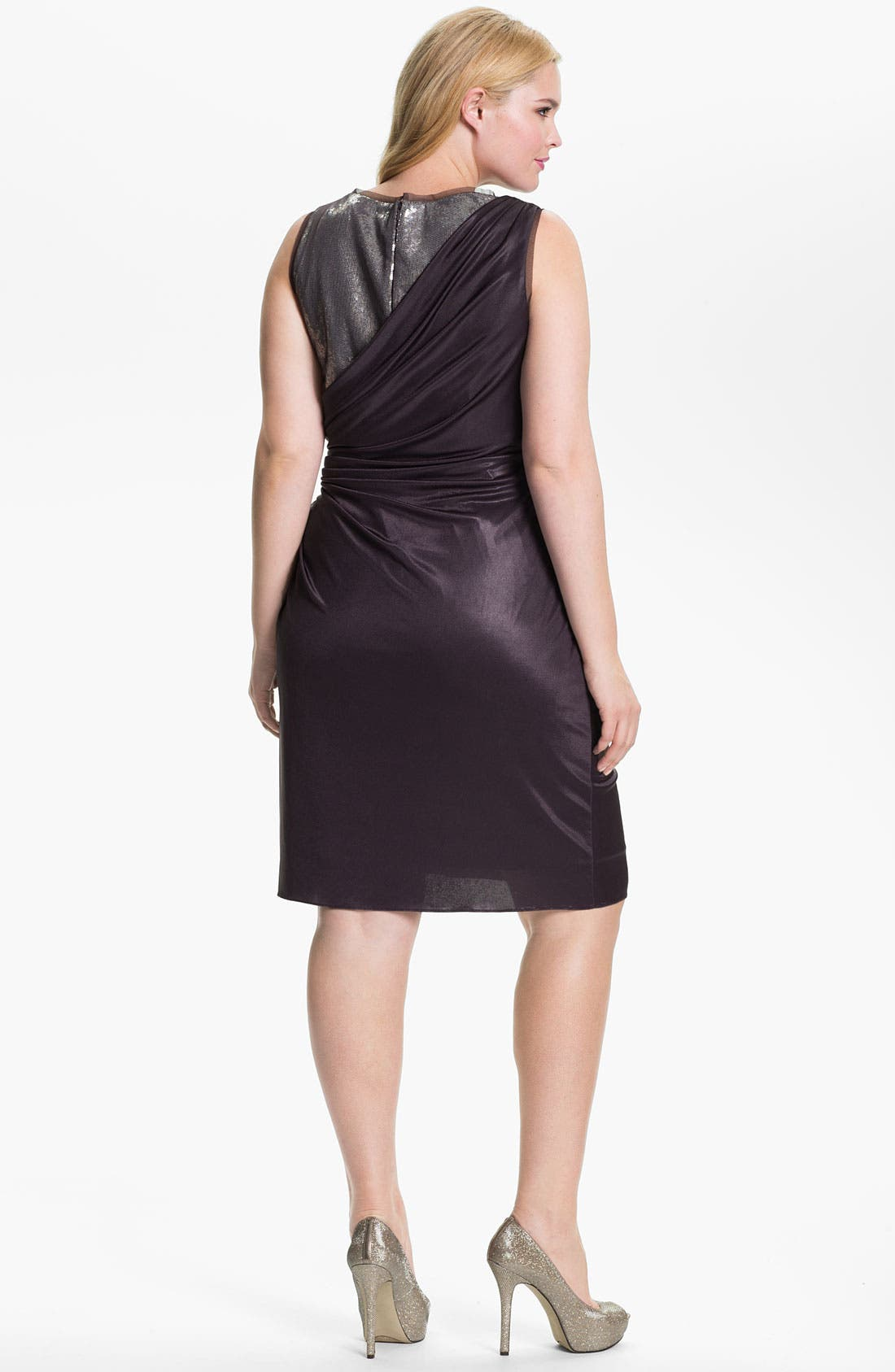Alternate Image 2  - Adrianna Papell Sequined Jersey Drape Dress (Plus)