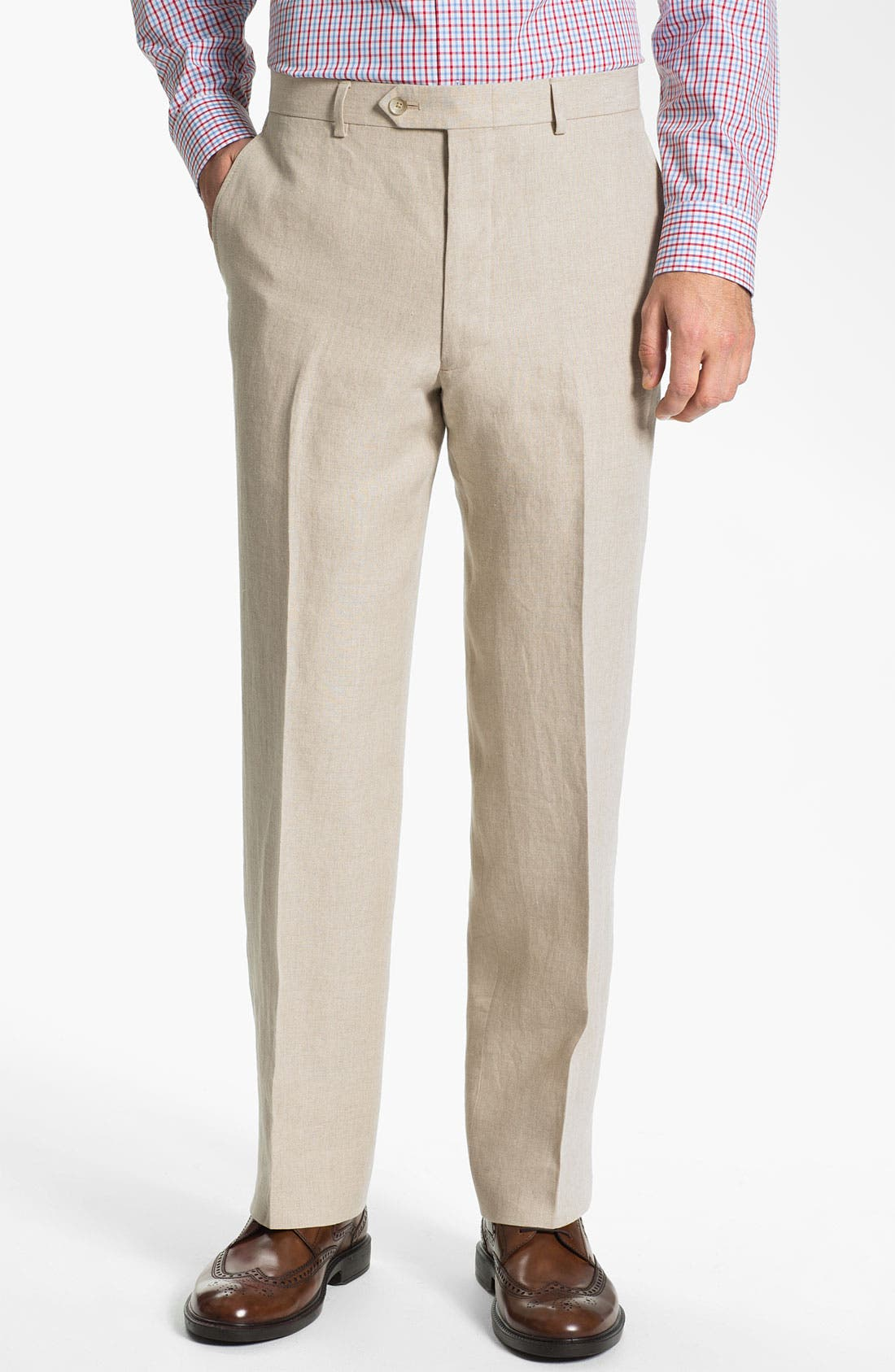 Main Image - John W. Nordstrom® Flat Front Linen Pants