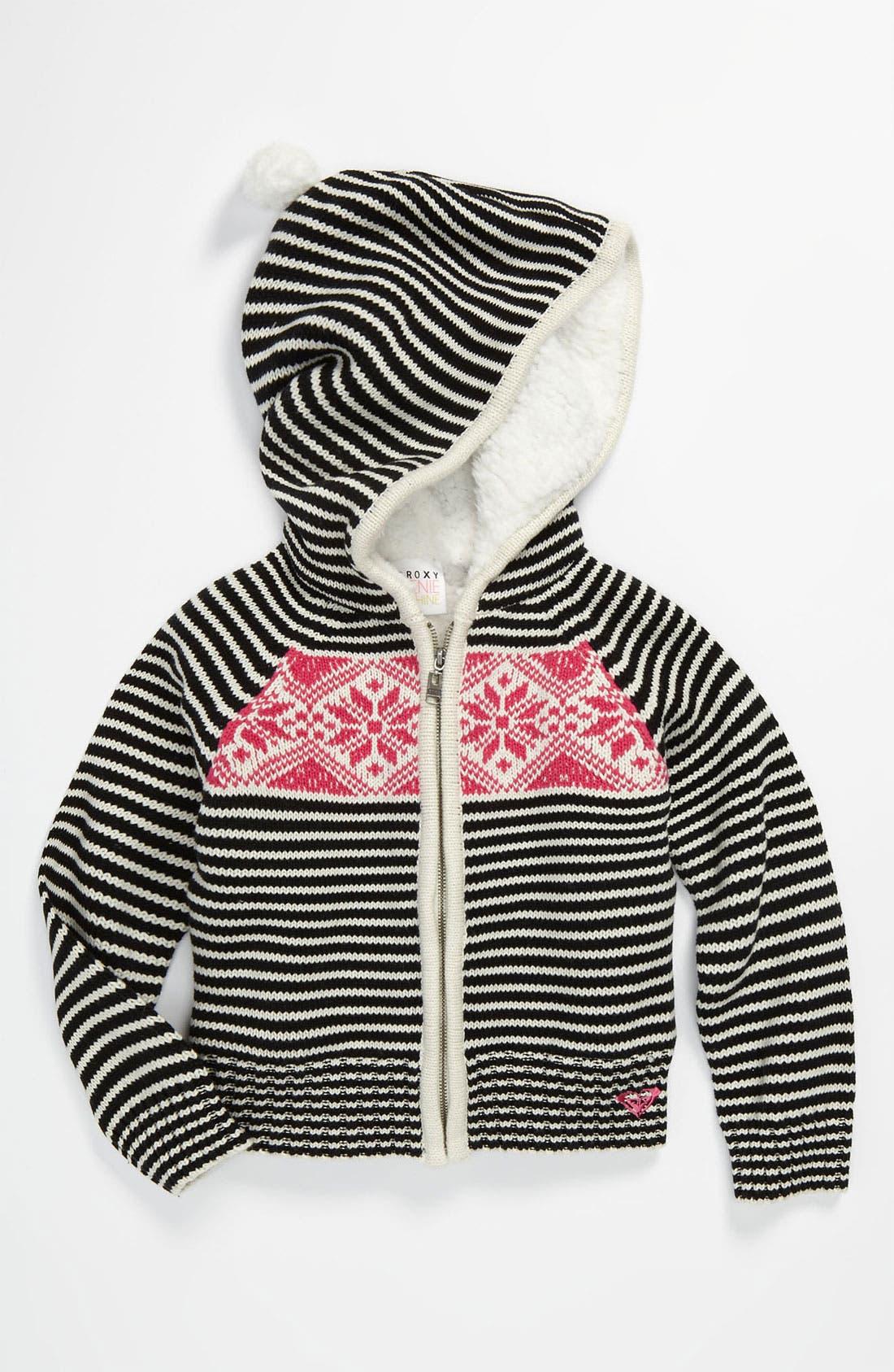 Main Image - 'Frozen Toes' Stripe Sweater (Little Girls)