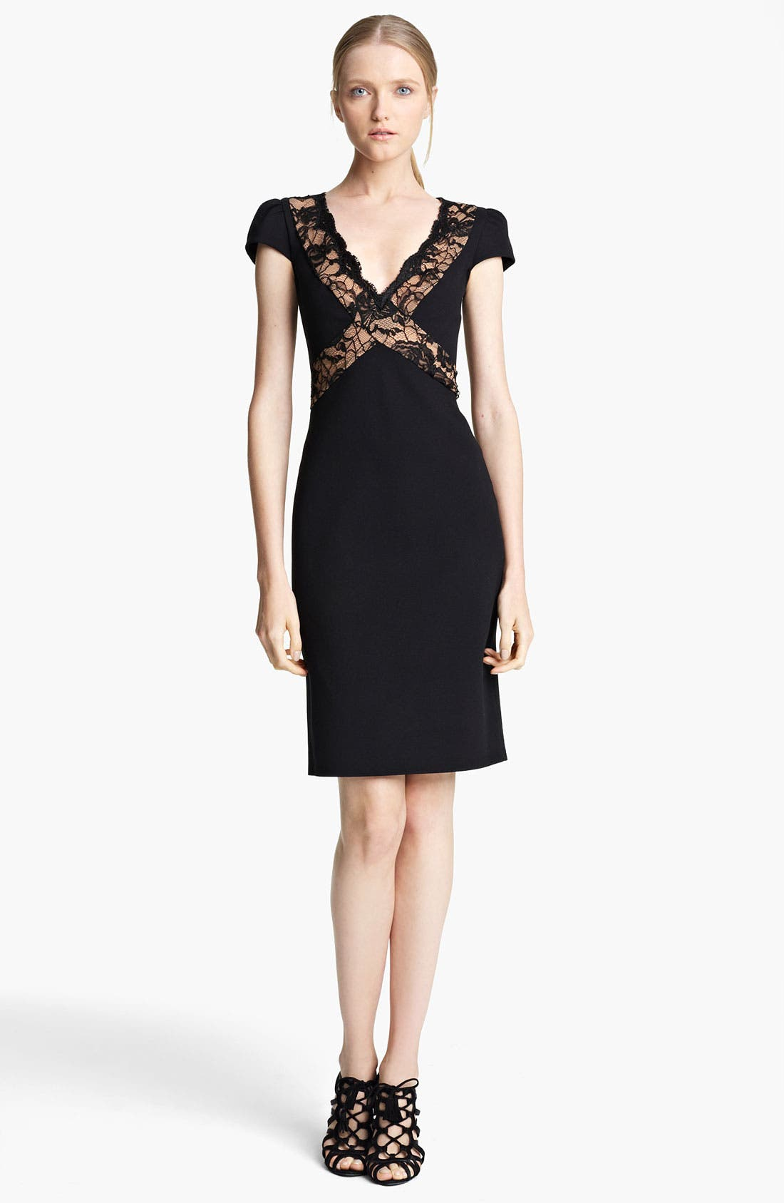 Alternate Image 1 Selected - Emilio Pucci Crisscross Lace Punto Milano Dress
