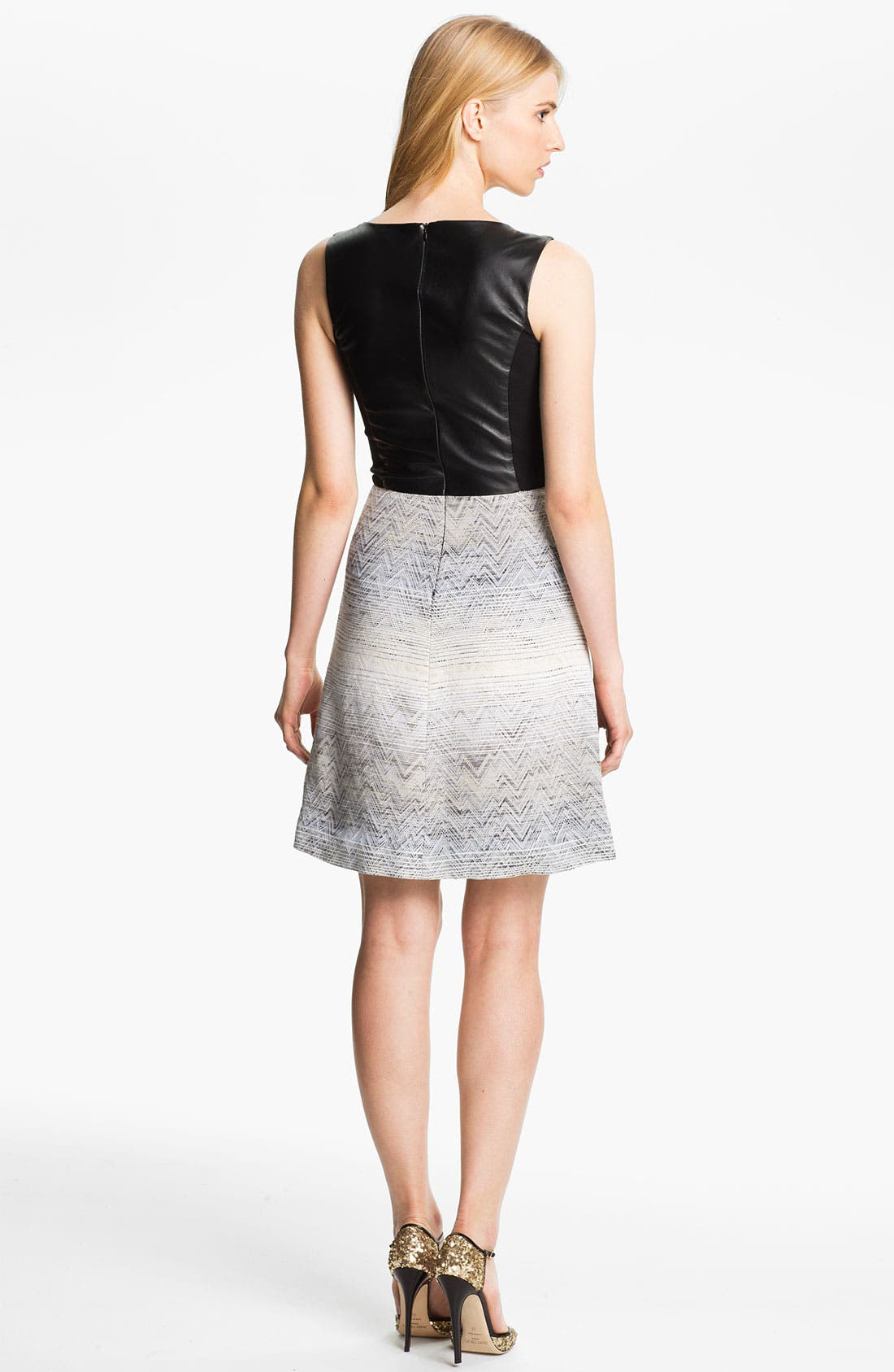 Alternate Image 2  - L'AGENCE Leather & Jacquard Dress