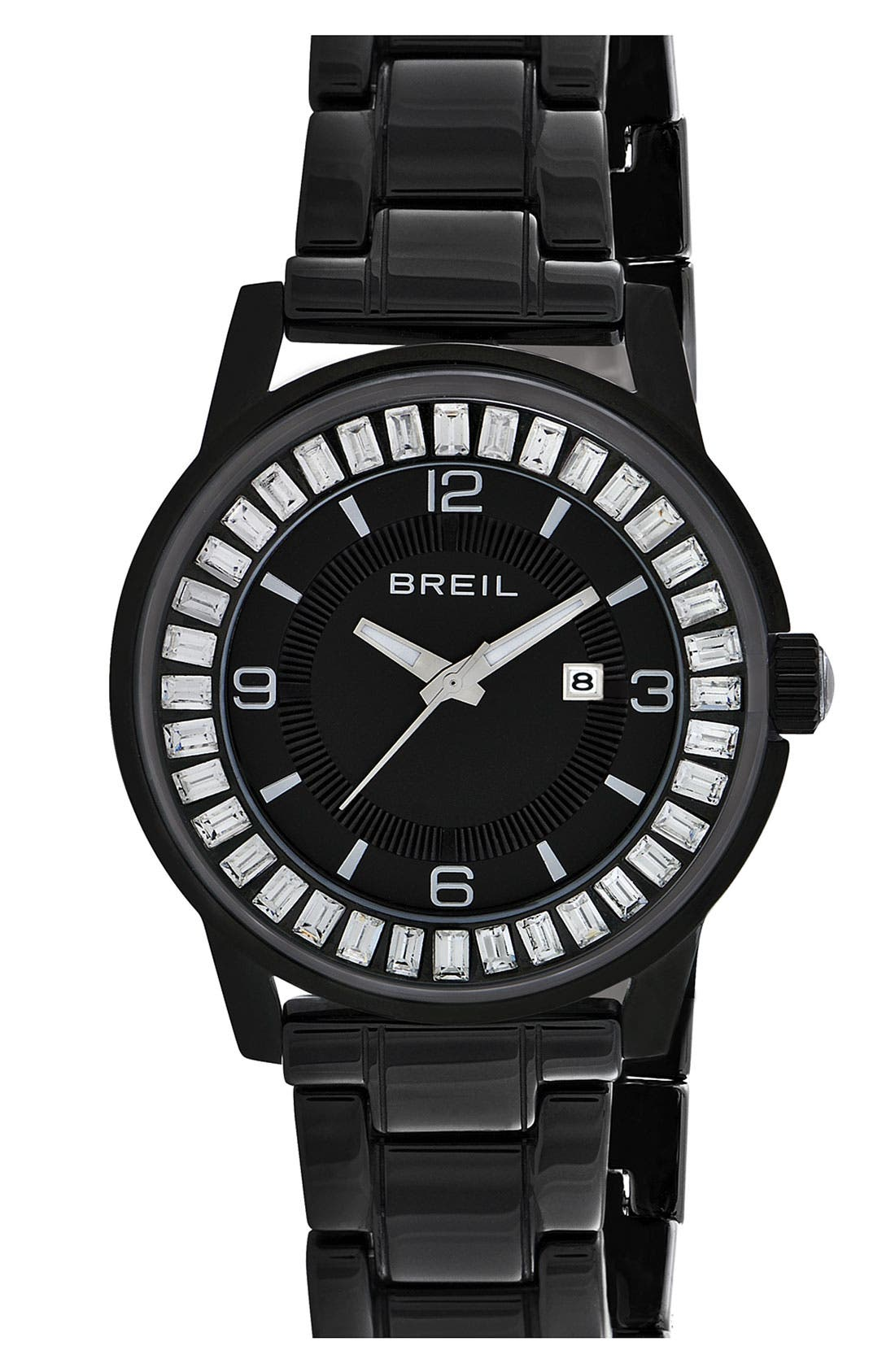 Alternate Image 1 Selected - Breil 'Orchestra' Baguette Crystal Ceramic Bracelet Watch, 40mm ($450 Value)