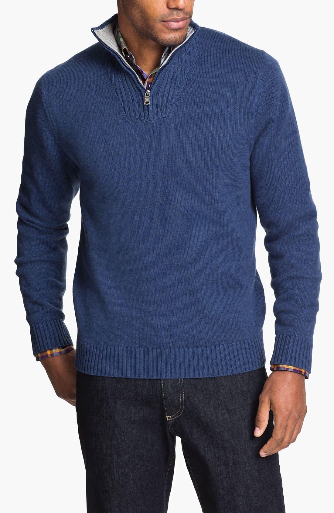 Alternate Image 1 Selected - Robert Talbott Half Zip Cotton & Cashmere Sweater
