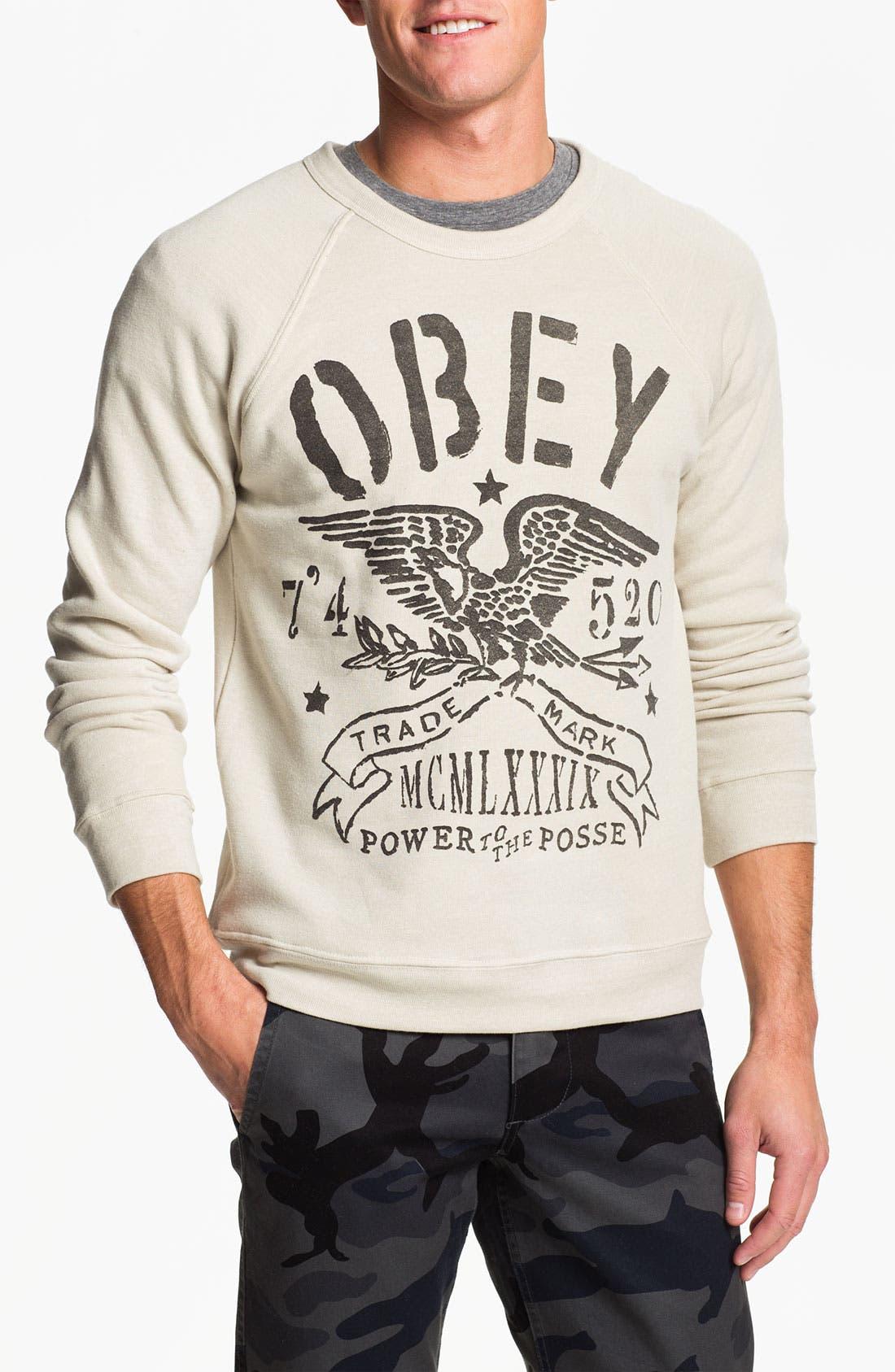 Main Image - Obey 'Trademark Eagle' Crewneck Sweatshirt