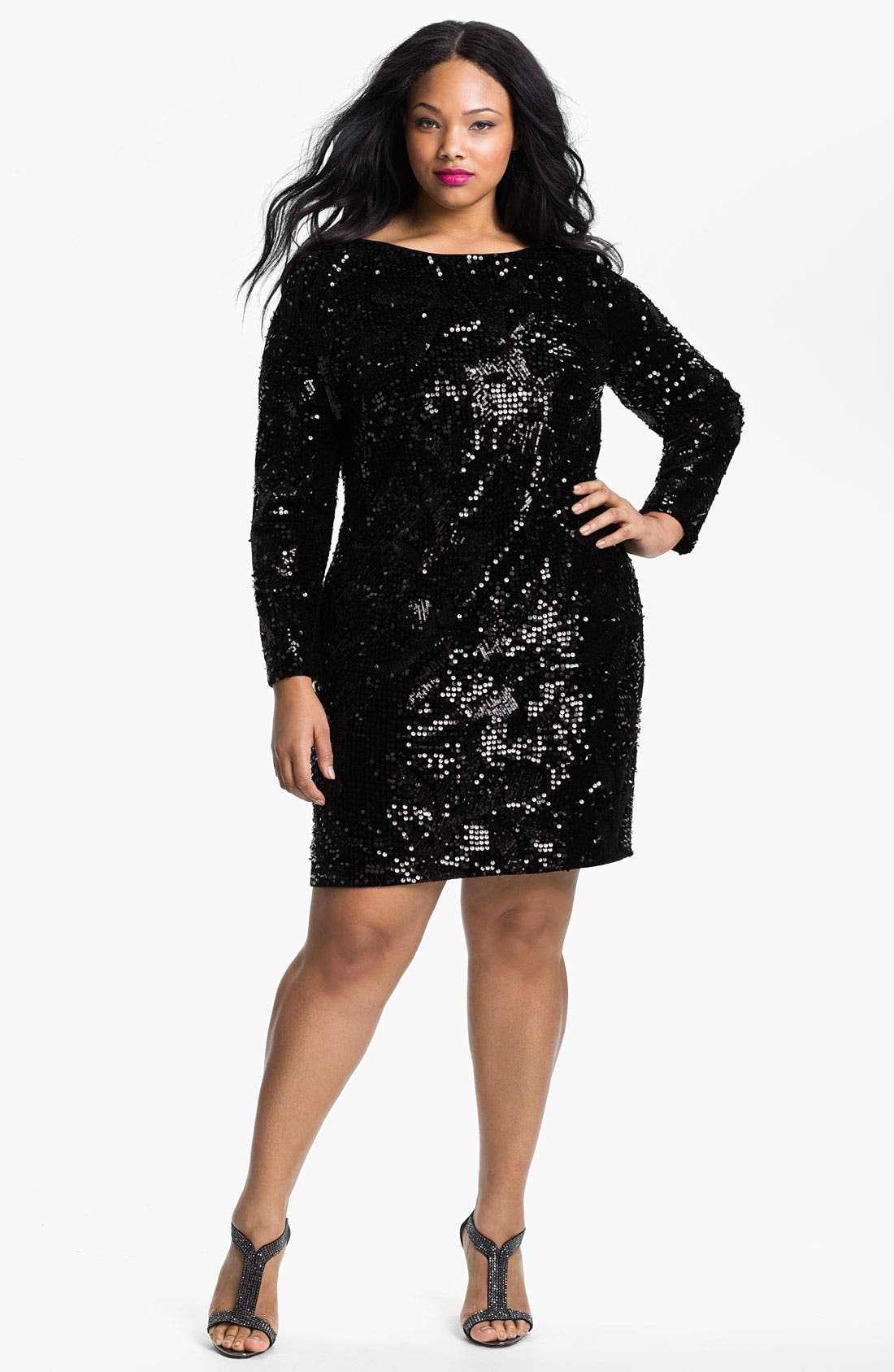 Main Image - Aidan Mattox Long Sleeve Sequin Velvet Dress (Plus)