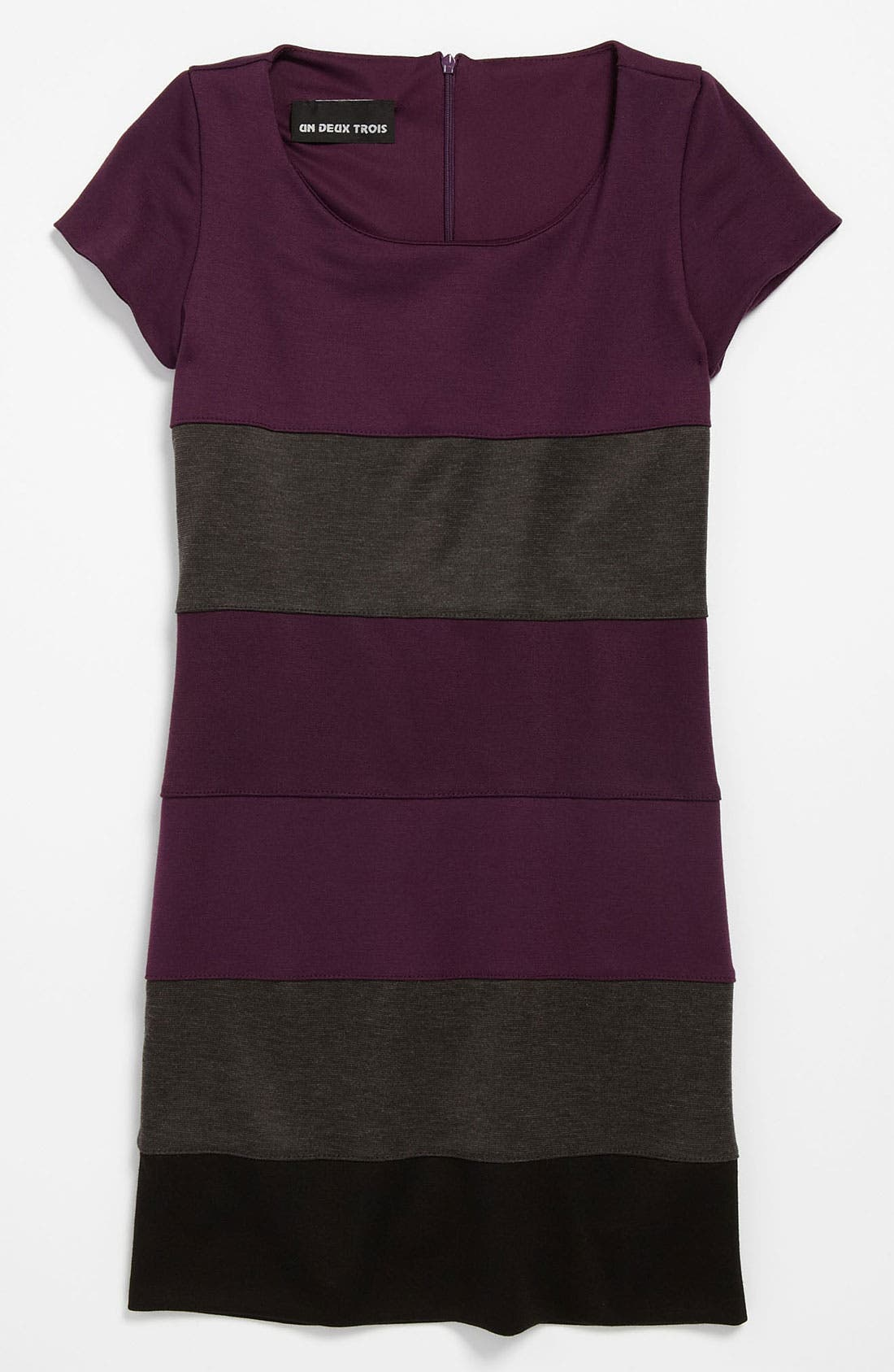 Alternate Image 1 Selected - Un Deux Trois Ponte Knit Cap Sleeve Dress (Big Girls)