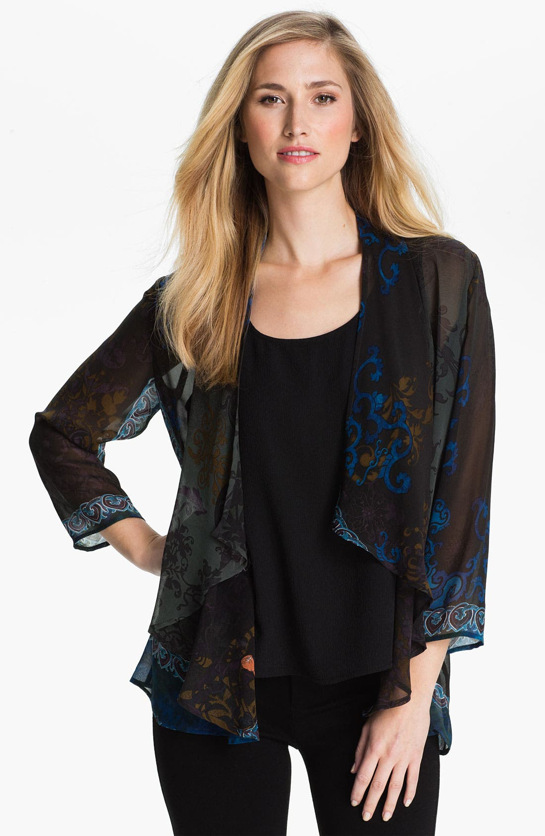 Main Image - Citron Cascade Front Sheer Silk Jacket (Petite)
