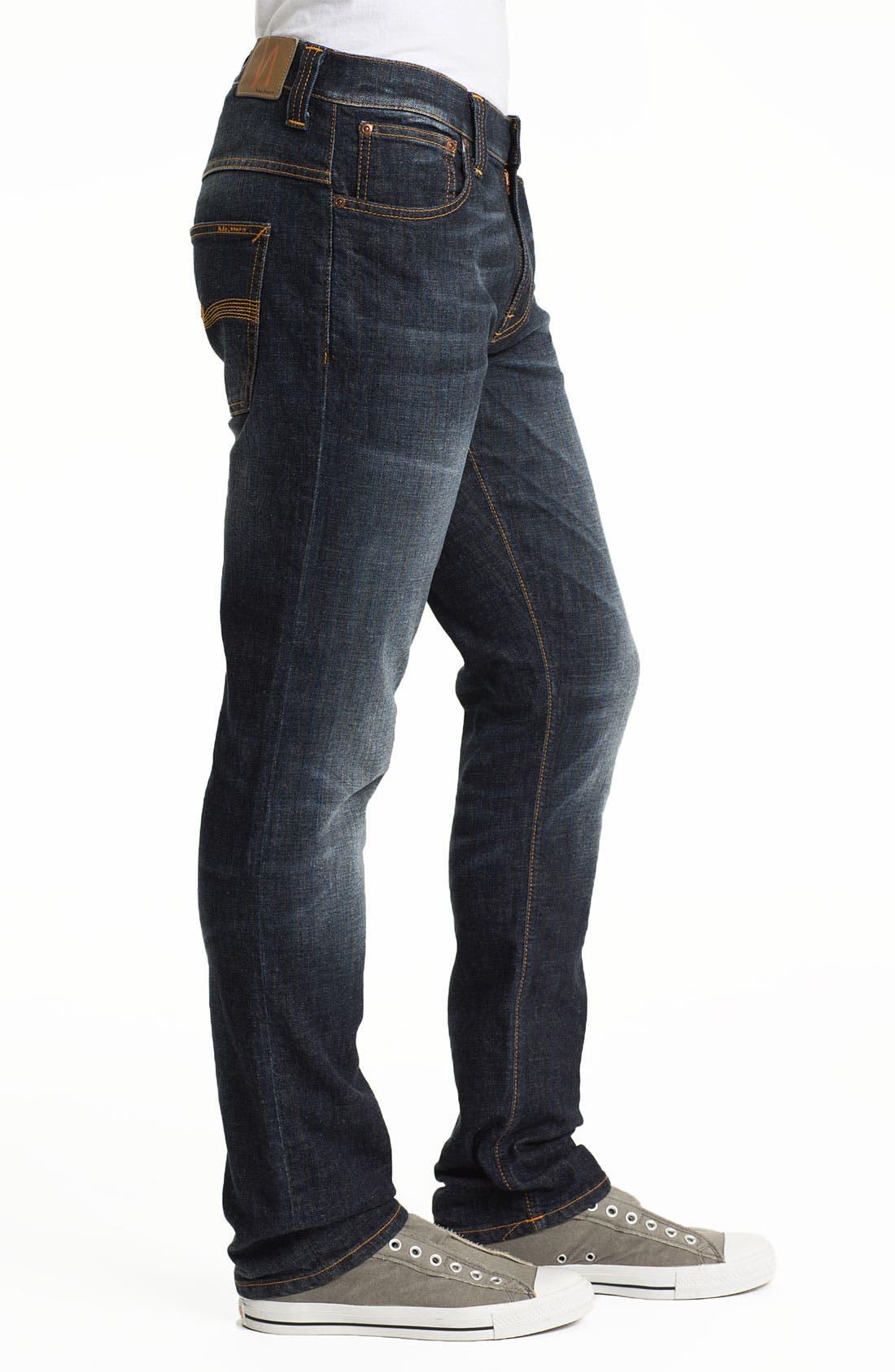 Alternate Image 3  - Nudie 'Thin Finn' Skinny Leg Jeans (Organic Black Indigo)