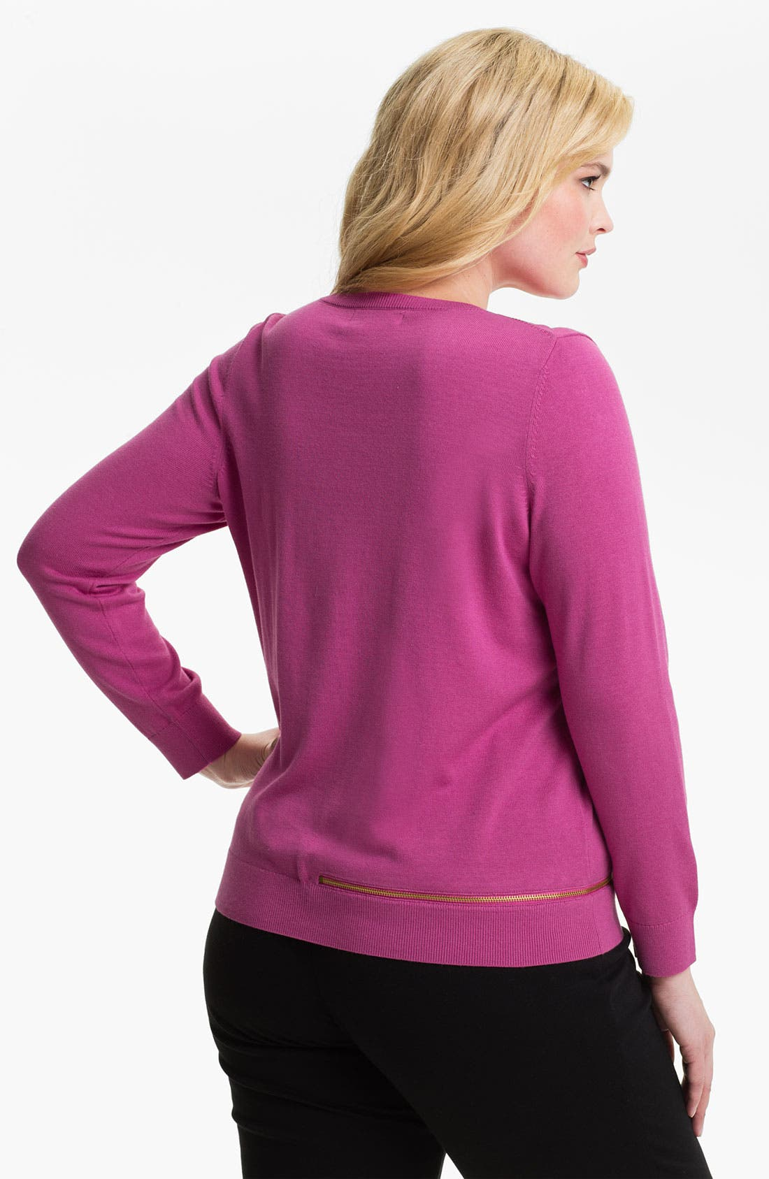Alternate Image 2  - MICHAEL Michael Kors Zip Detail Sweater (Plus)