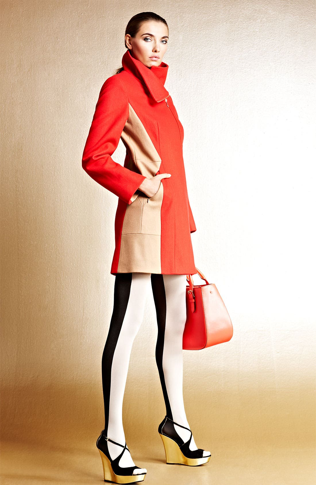 Alternate Image 6  - Calvin Klein Two Tone Asymmetrical Walking Coat