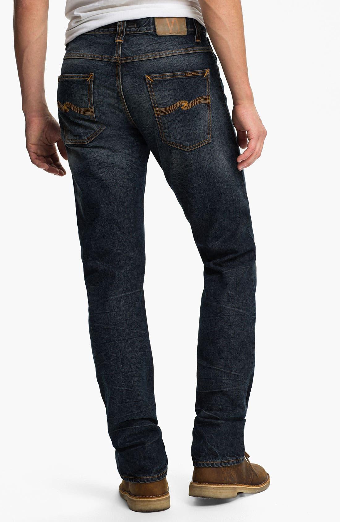 Alternate Image 1 Selected - Nudie 'Average Joe' Straight Leg Jeans (Organic Thorough Indigo)