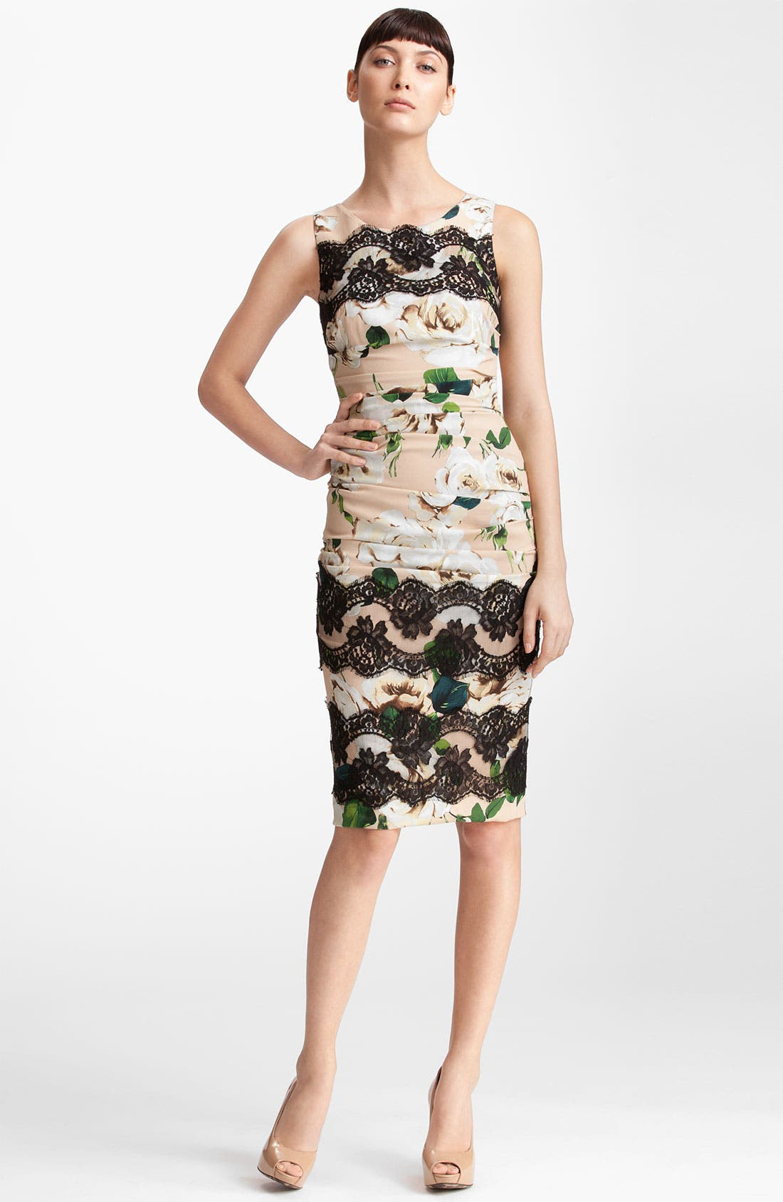 Main Image - Dolce&Gabbana Lace Detail Rose Print Dress