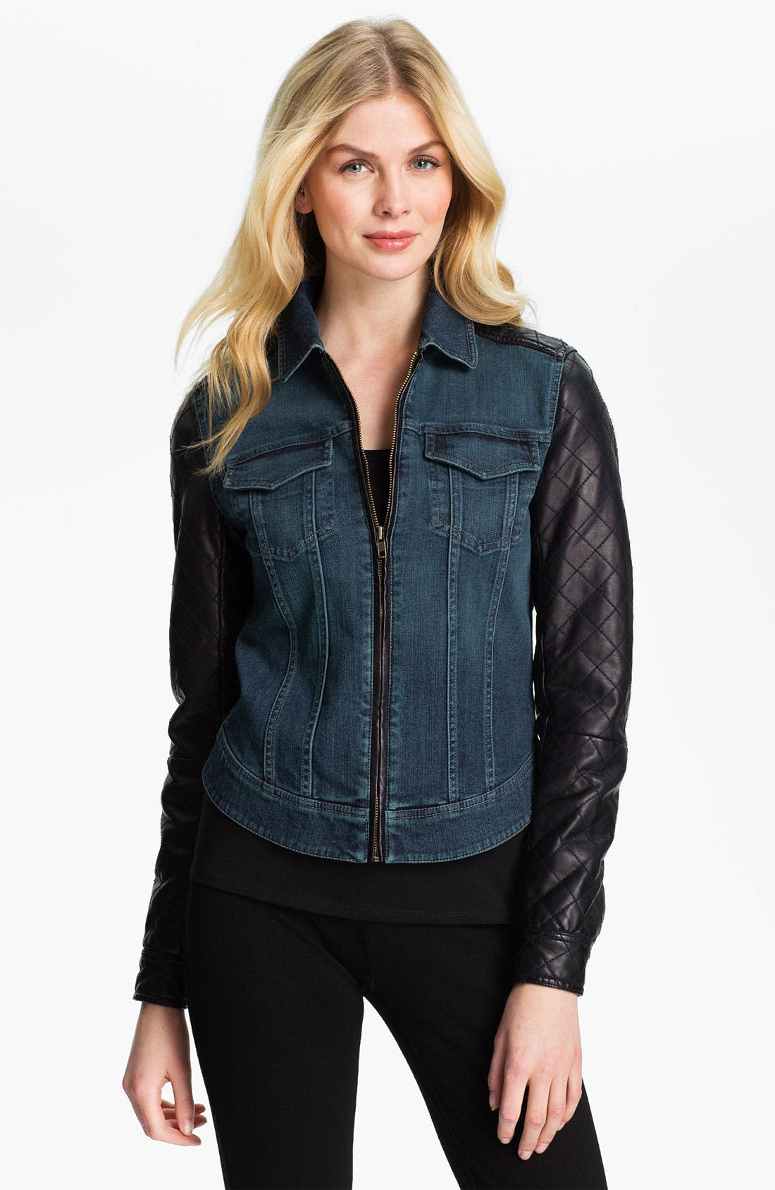 Alternate Image 1 Selected - Isaac Mizrahi Jeans 'Kimberly' Mix Media Jacket (Online Exclusive)