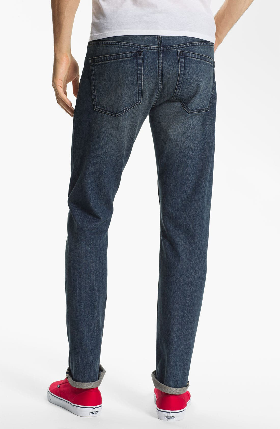 Alternate Image 1 Selected - RVCA Super Slim Straight Leg Selvedge Jeans (Easy Does It)