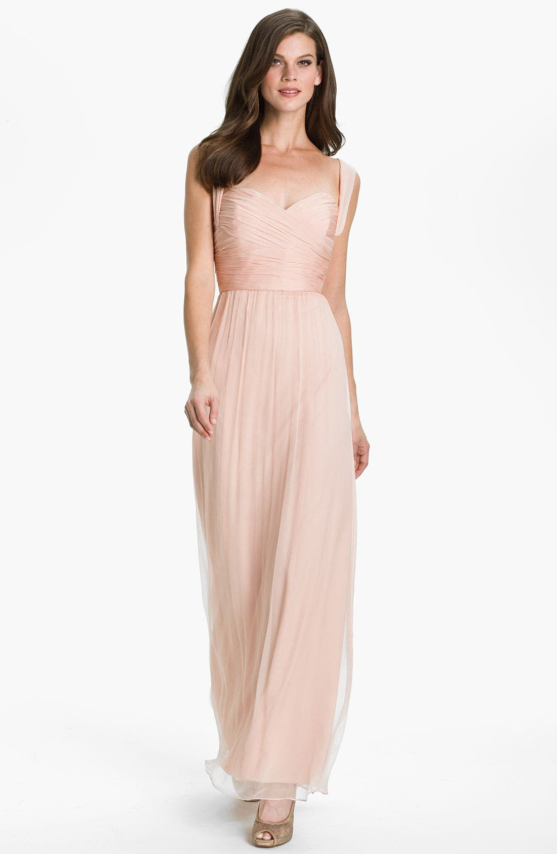 Alternate Image 1 Selected - Amsale Gathered Silk Chiffon Gown