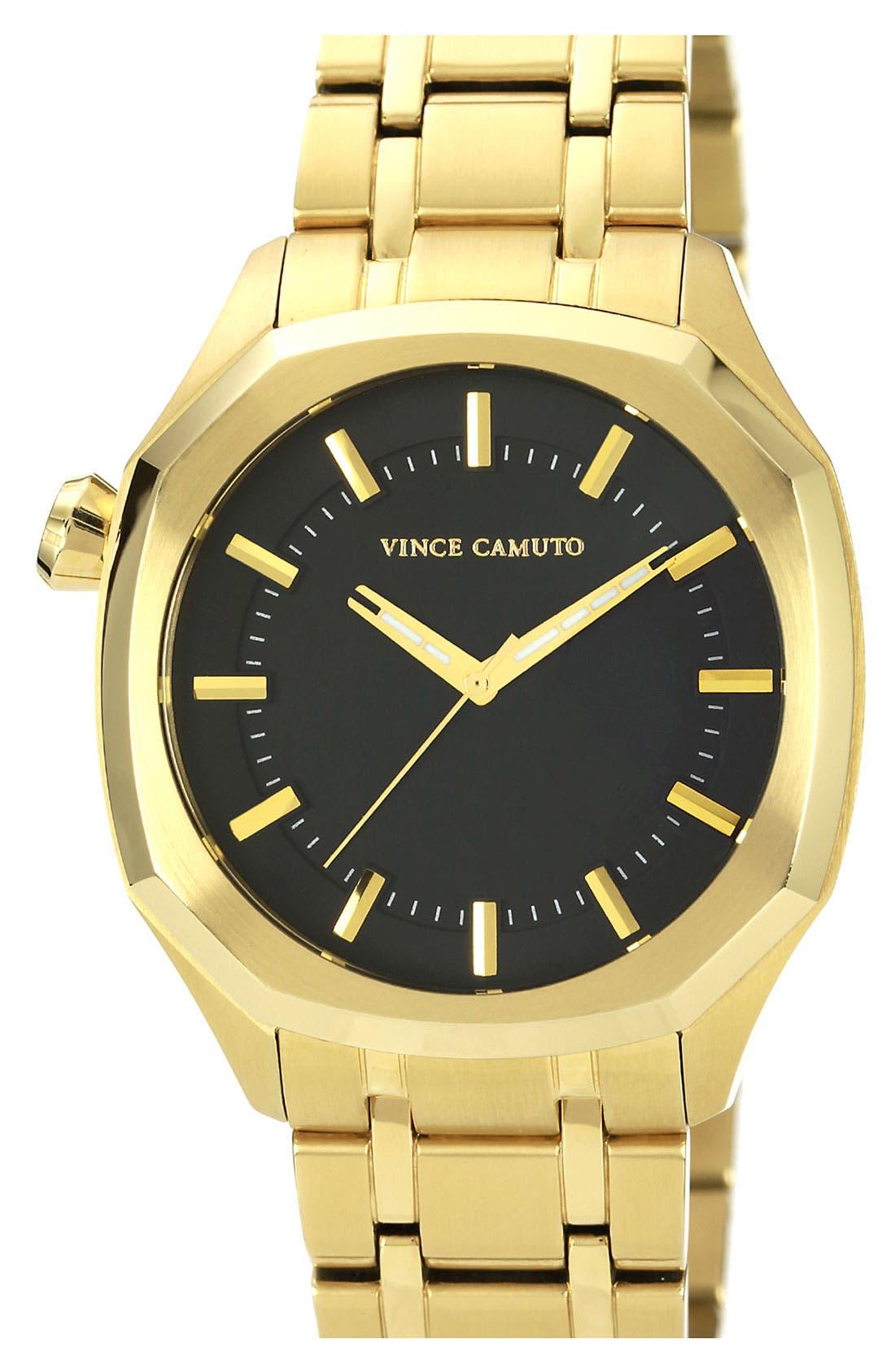 Octagonal Stick Index Bracelet Watch, 42mm,                         Main,                         color, Gold/ Black