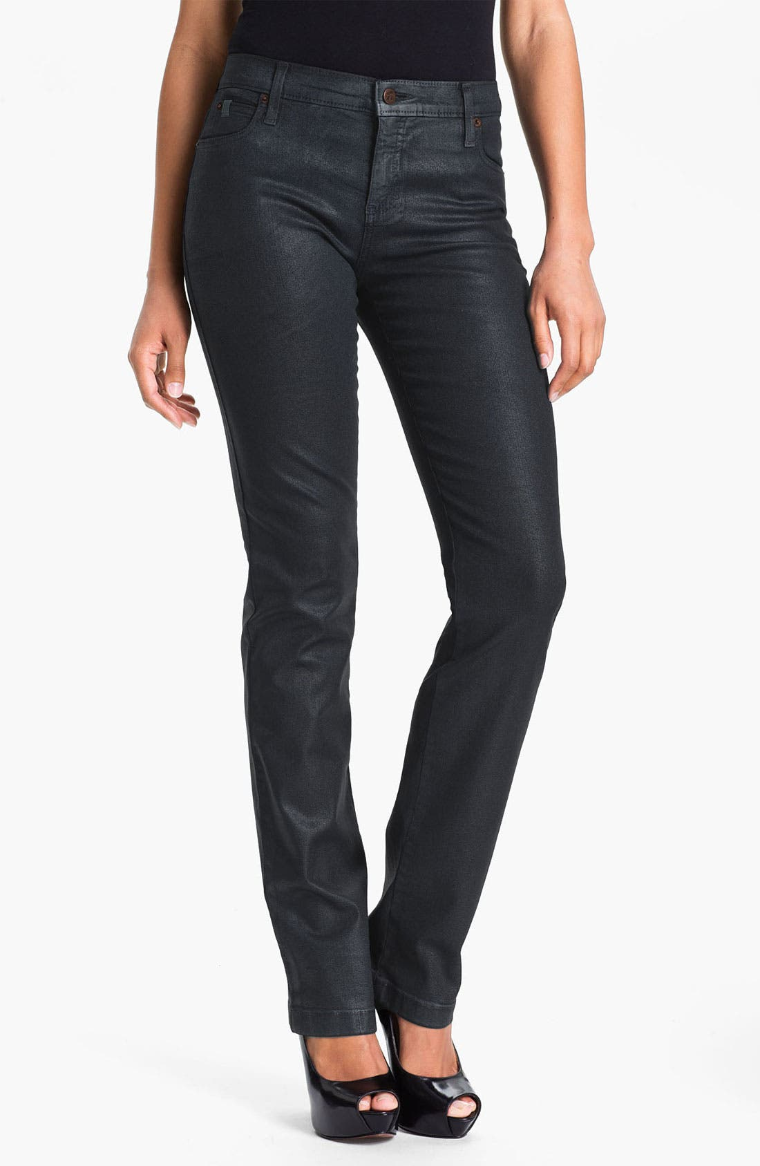 Alternate Image 1 Selected - Second Yoga Jeans High Rise Coated Straight Leg Jeans