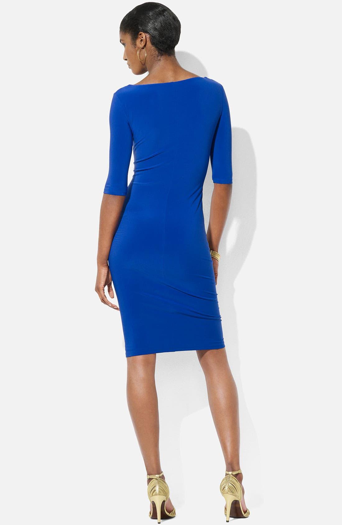Alternate Image 2  - Lauren Ralph Lauren 'Carleton' Cowl Neck Jersey Sheath Dress (Petite)