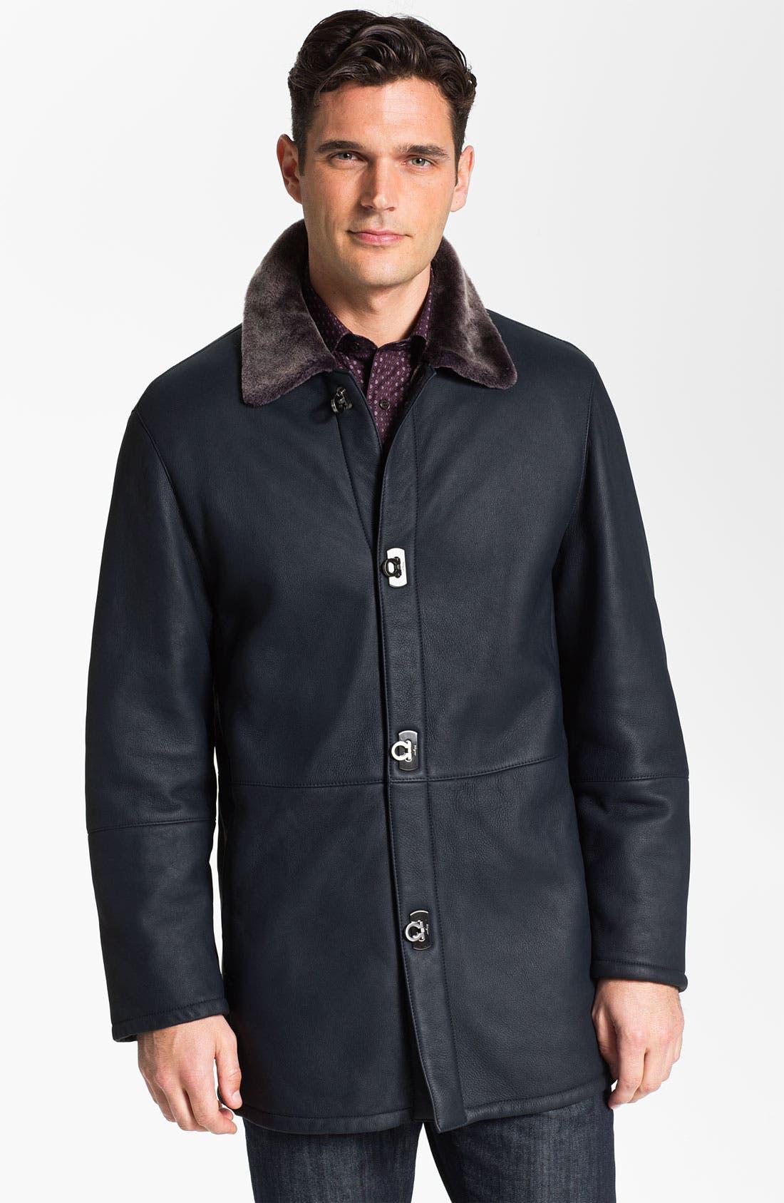 Main Image - Salvatore Ferragamo Genuine Shearling Coat with Gancini Closure