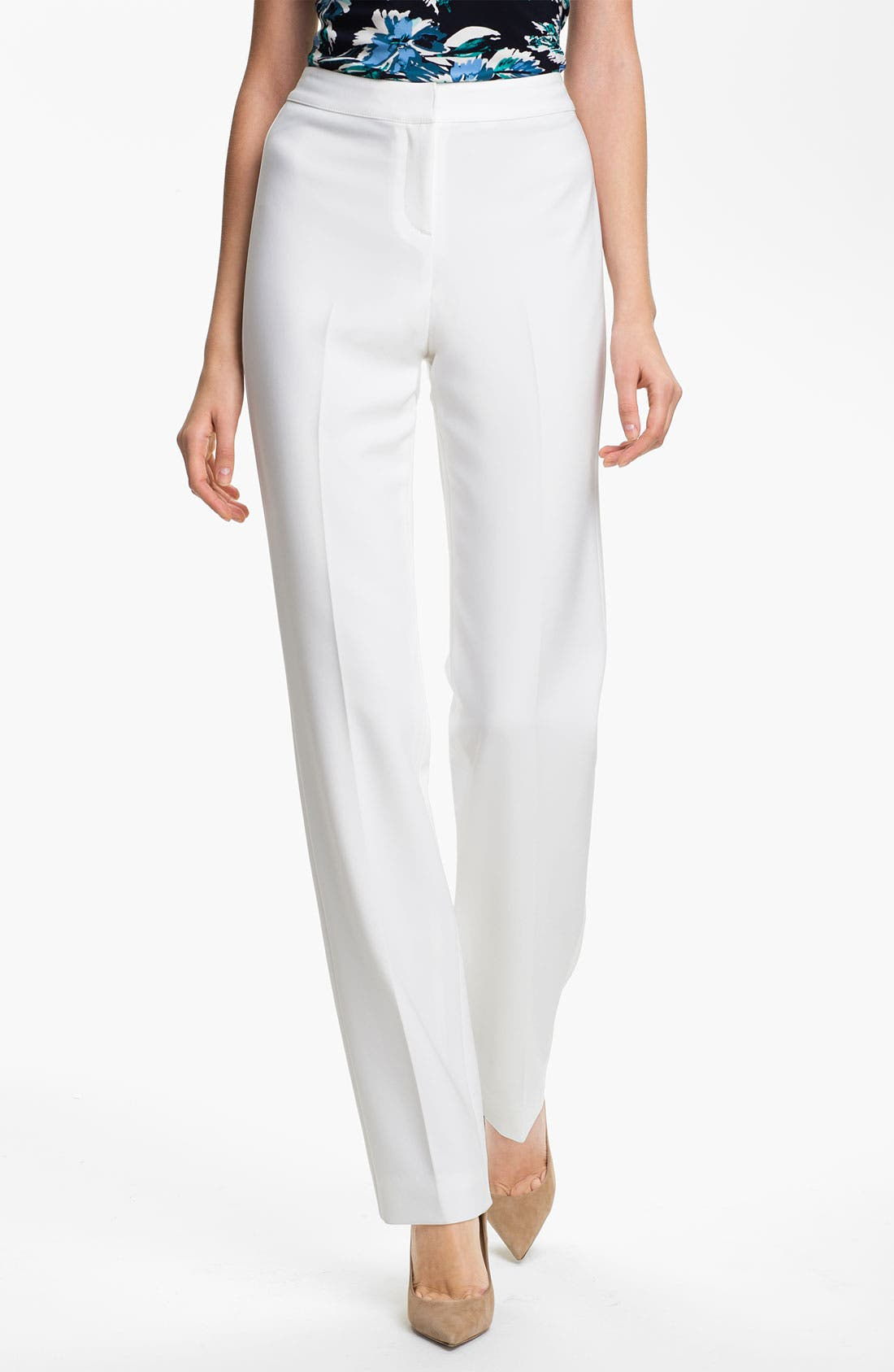 Main Image - St. John Collection 'Diana' Straight Leg Crepe Marocain Pants