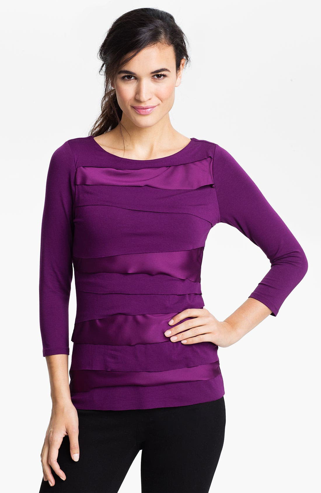 Alternate Image 1 Selected - Vince Camuto Mix Media Zigzag Top (Petite)
