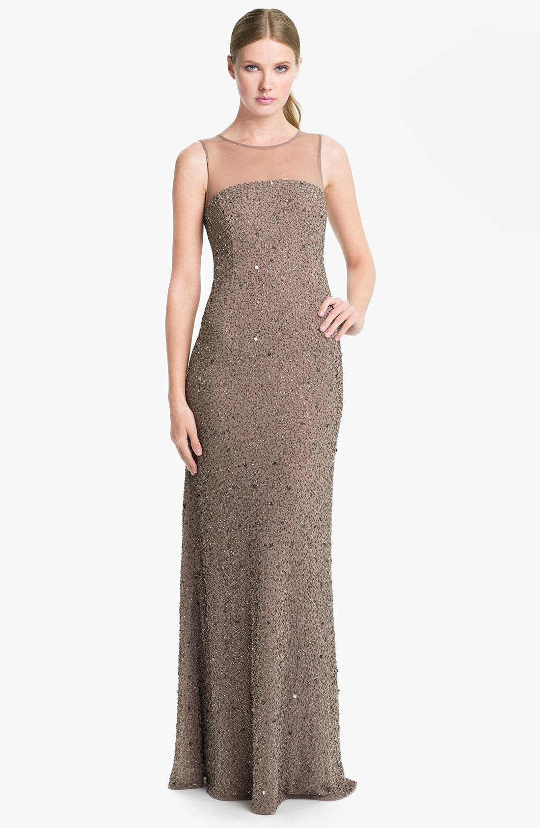 Alternate Image 1 Selected - Adrianna Papell Illusion Yoke Embellished Chiffon Gown