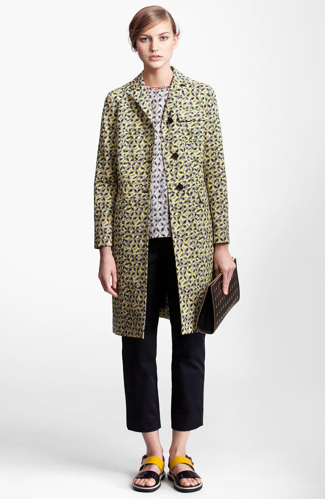 Main Image - Marni Edition Long Leaf Print Coat