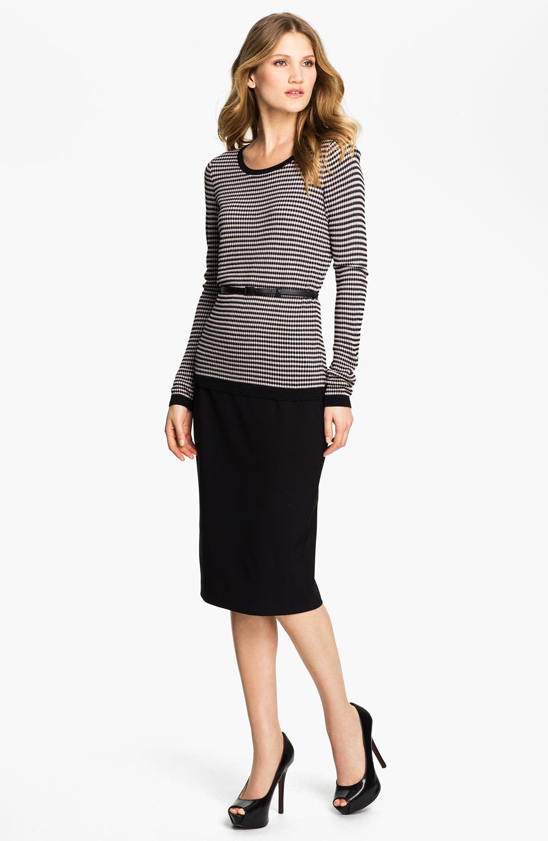 Alternate Image 4  - Classiques Entier® 'Tessa' Belted Jacquard Sweater