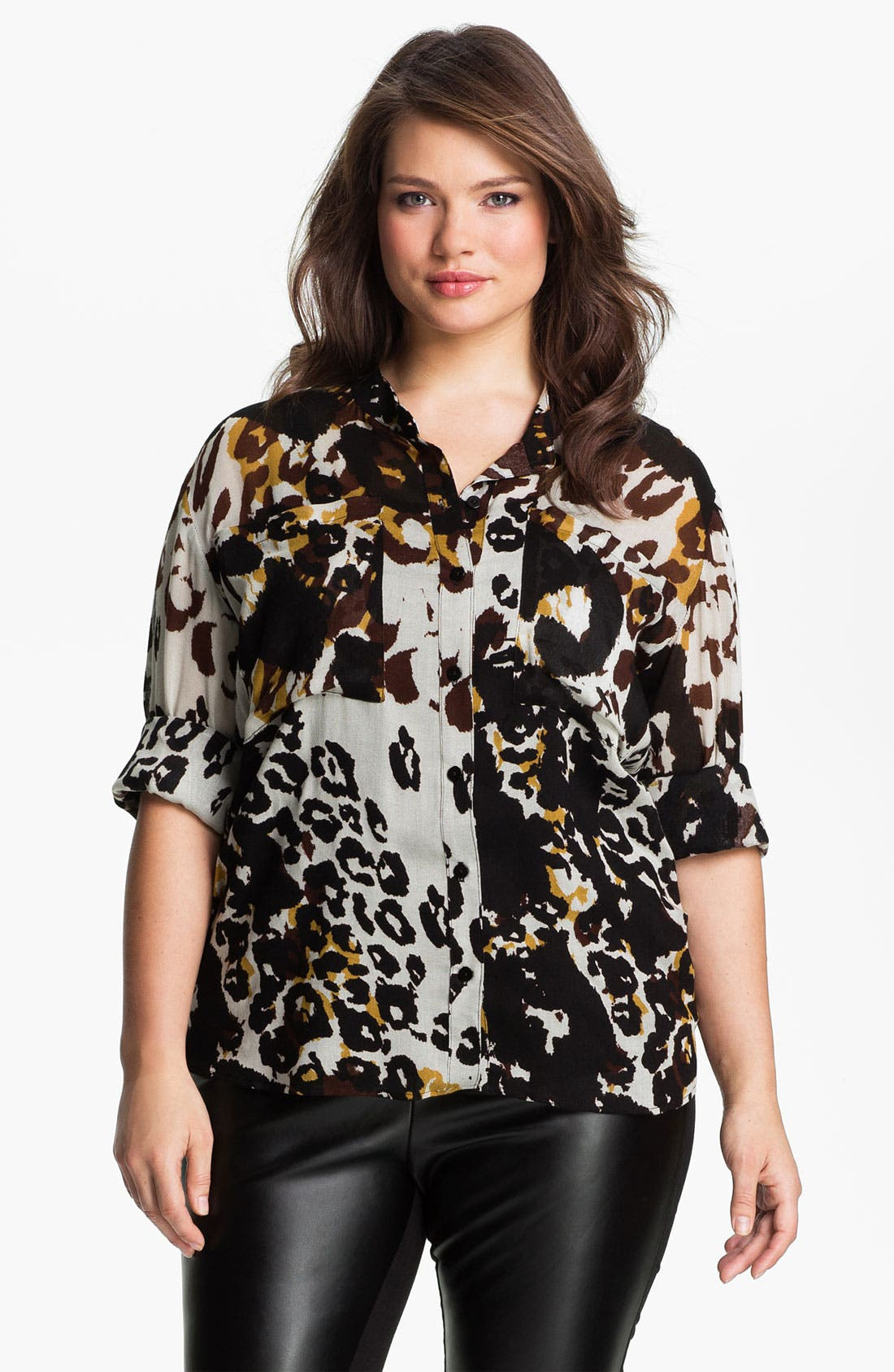 Alternate Image 1 Selected - Nation LTD 'Sonoma' Leopard Print Shirt (Plus)
