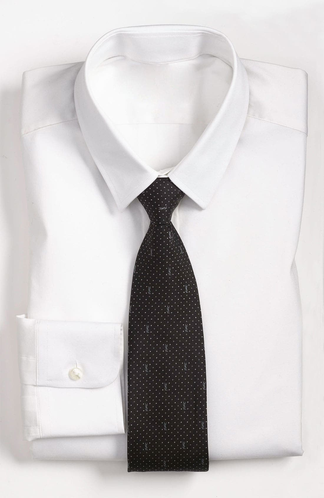 Main Image - Yves Saint Laurent Pin Dot Logo Woven Silk Tie
