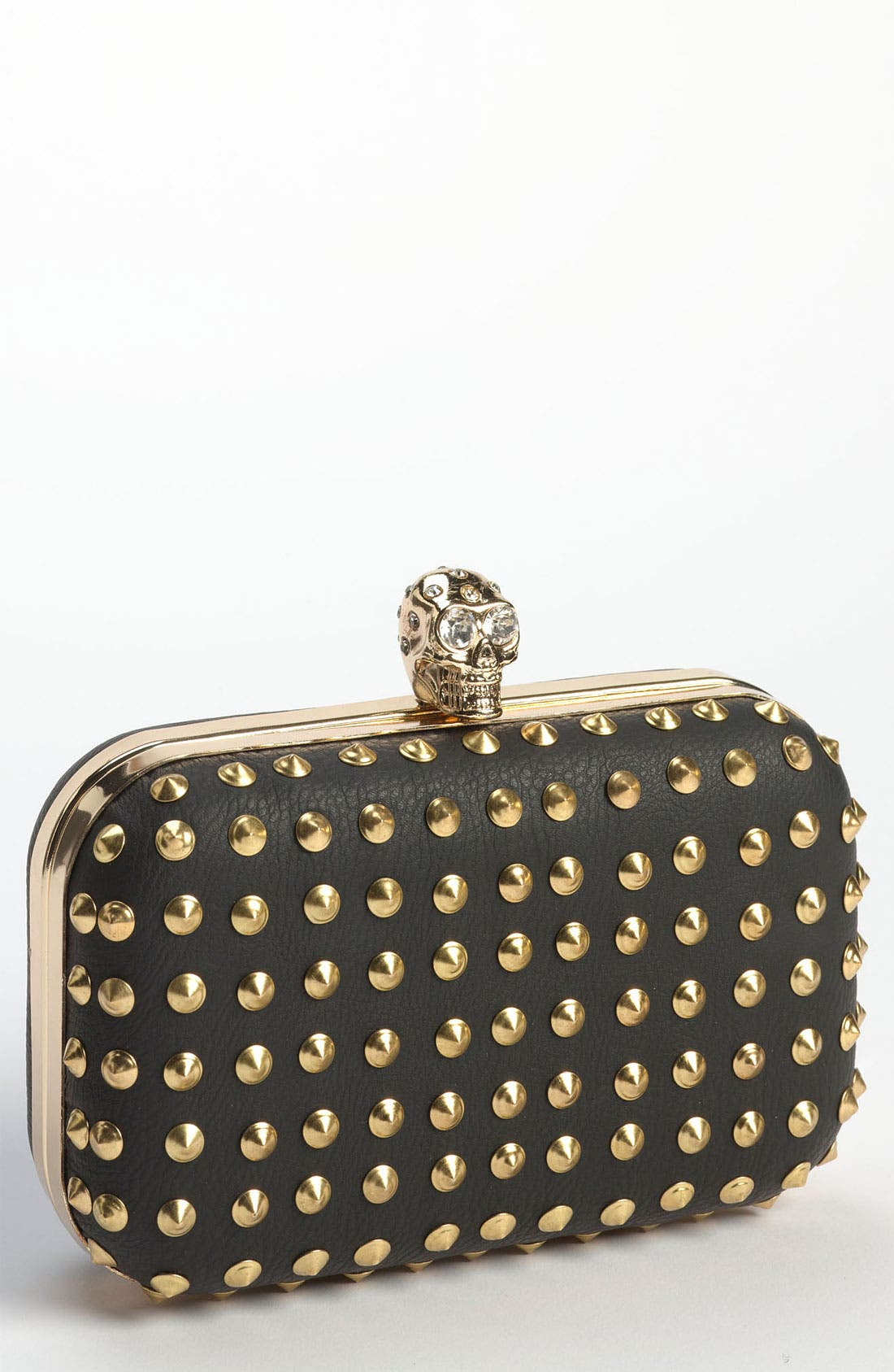 Alternate Image 1 Selected - Cesca 'Rickee' Stud & Skull Frame Clutch